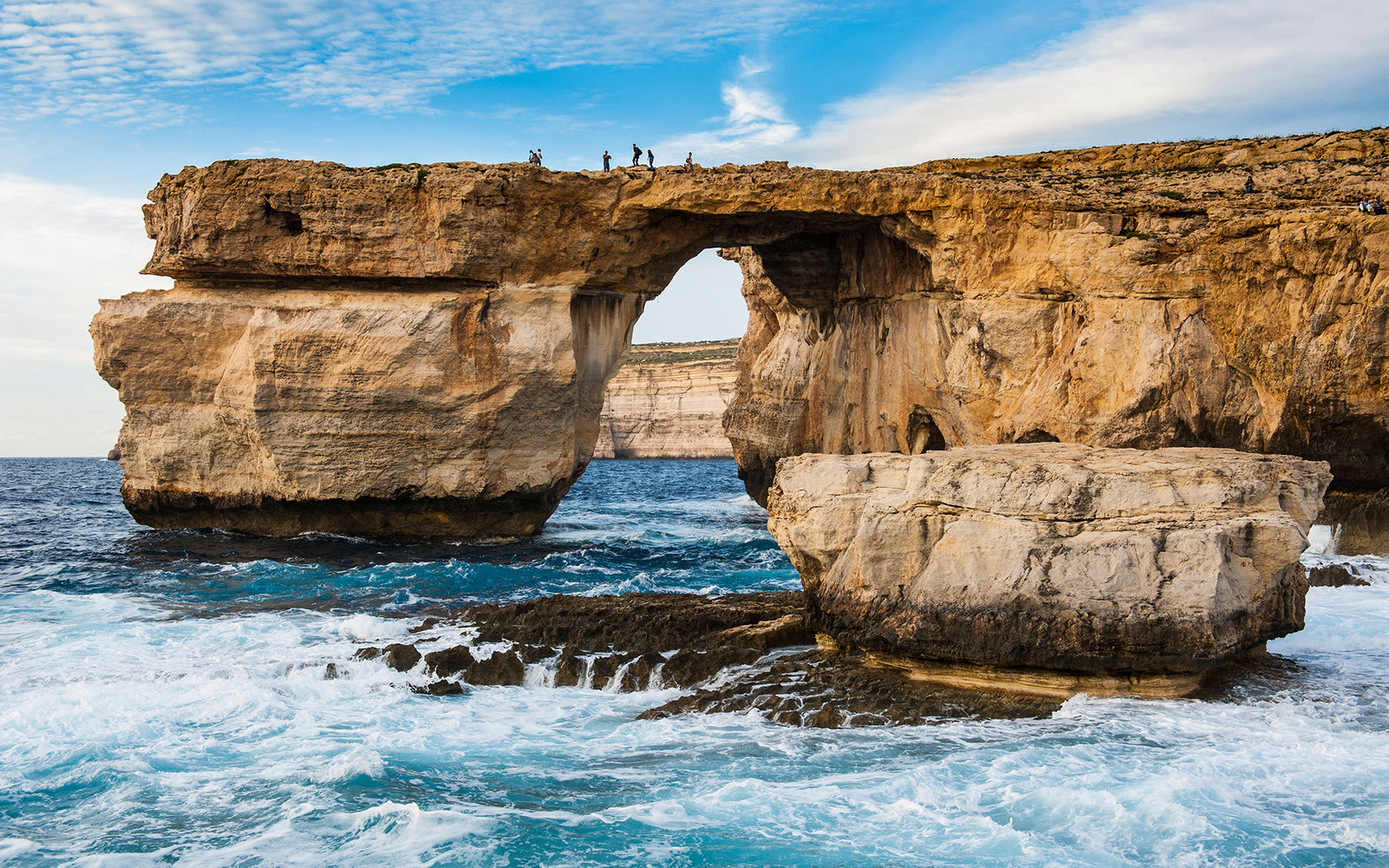 D2RB21 Famous sea arch, the Azure Window, Gozo, Malta, Mediterranean, Europe