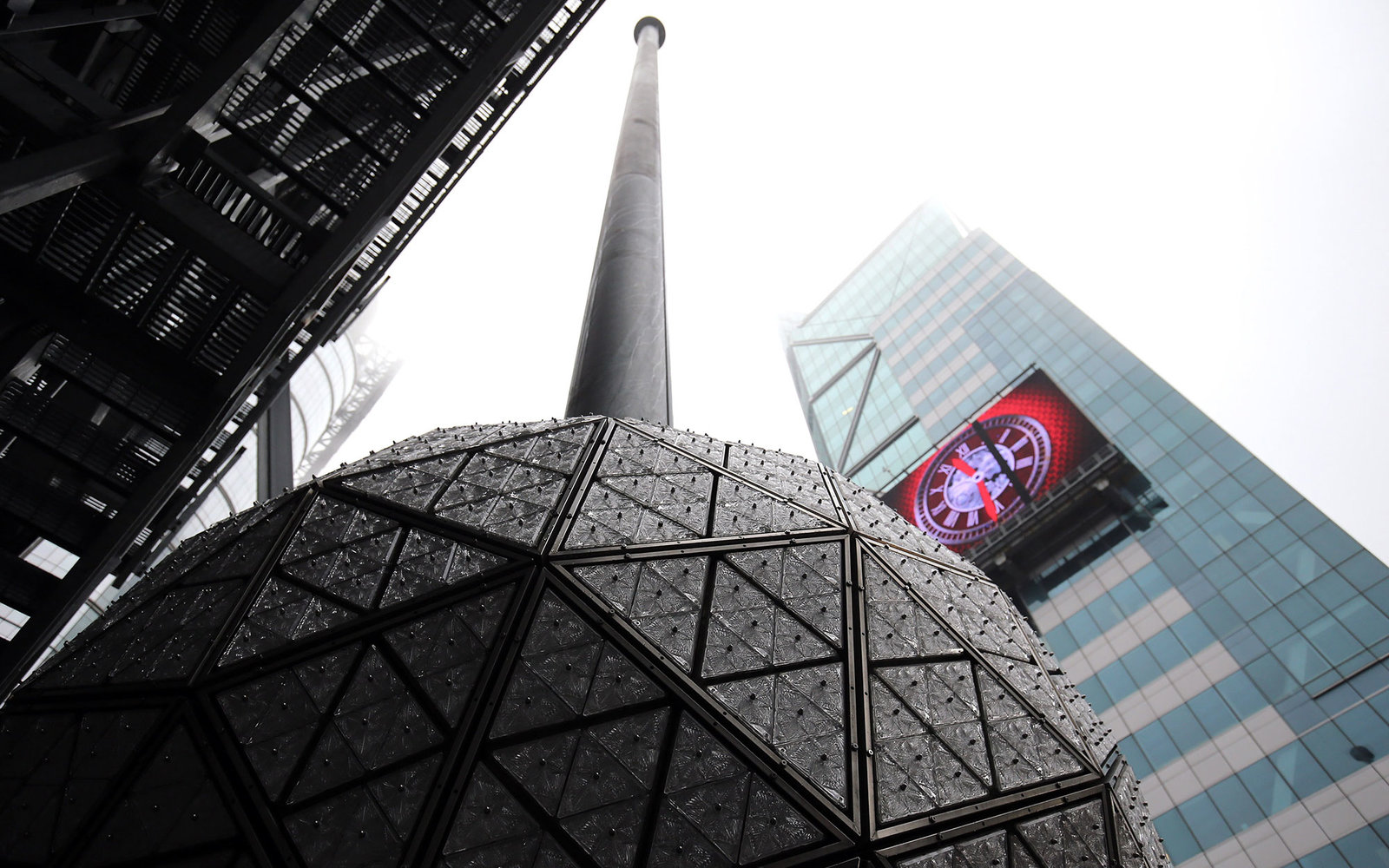 NEW YORK, NY - DECEMBER 27:  A general view of the Times Square New Year's Eve Ball during the installation of 288 new Waterford crystals on the Times Square New Year's Eve Ball at Times Square on December 27, 2015 in New York City.  (Photo by Neilson Bar