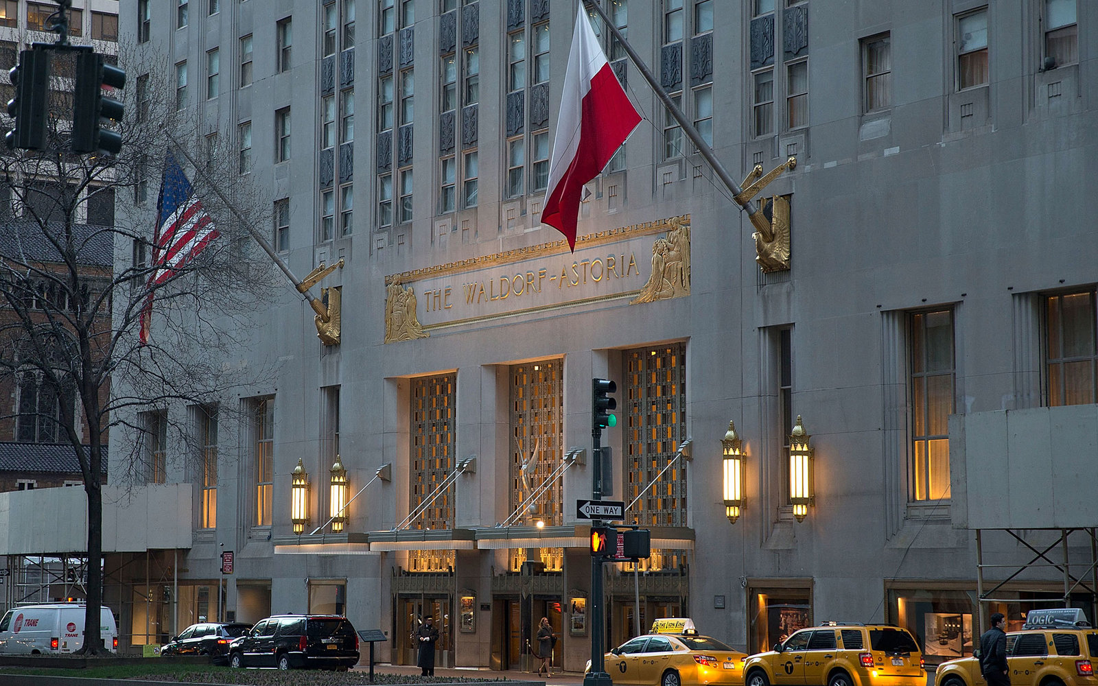 NEW YORK, NY - MARCH 27:  A general view of the exterior facade of the Waldorf-Astoria Hotel on March 27, 2013 in New York City.  (Photo by Ben Hider/Getty Images)