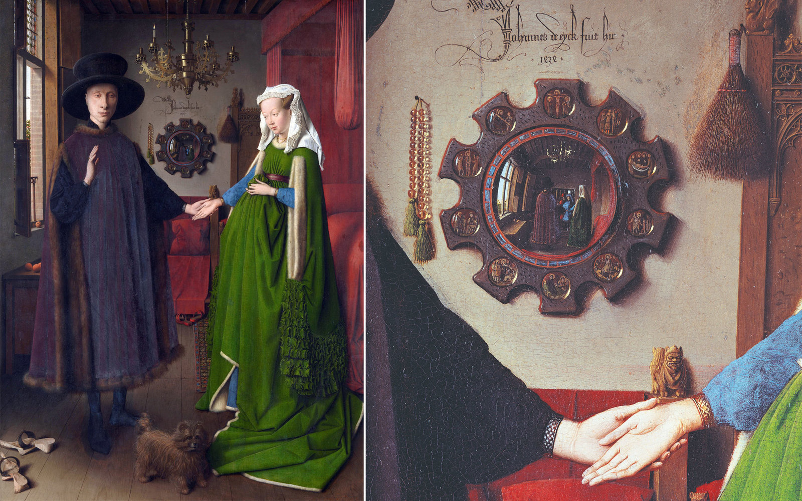 """arnolfini wedding portrait The """"arnolfini marriage"""" gown subjects on this page  this portrait by jan van  eyck is dated to 1434 (see signature and date on the back wall."""