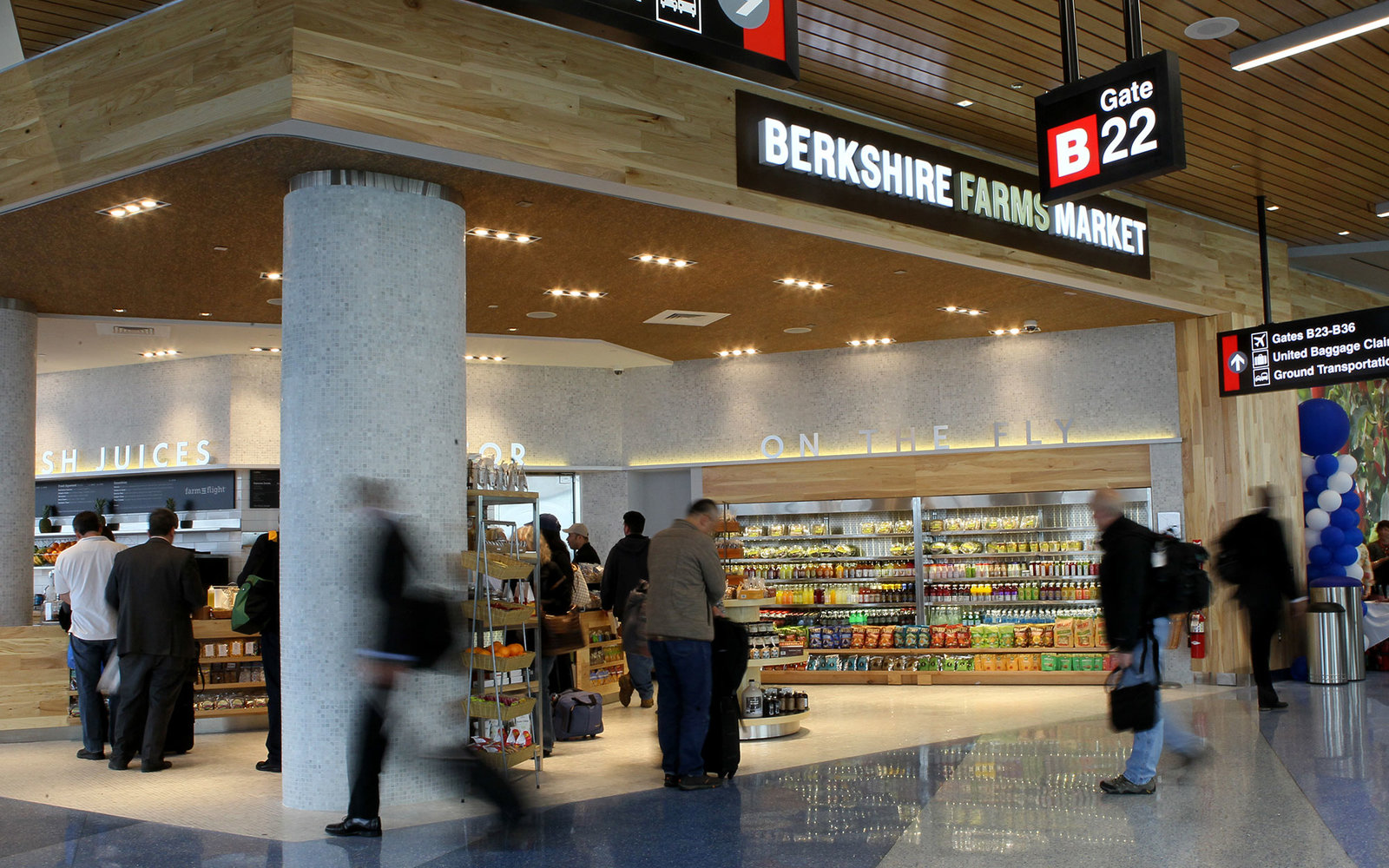 BOSTON - APRIL 30: Berkshire Farms Market opening day at Logan Airport, Terminal B. This store has fresh foods, some from the Berkshires, some local. (Photo by Joanne Rathe/The Boston Globe via Getty Images)