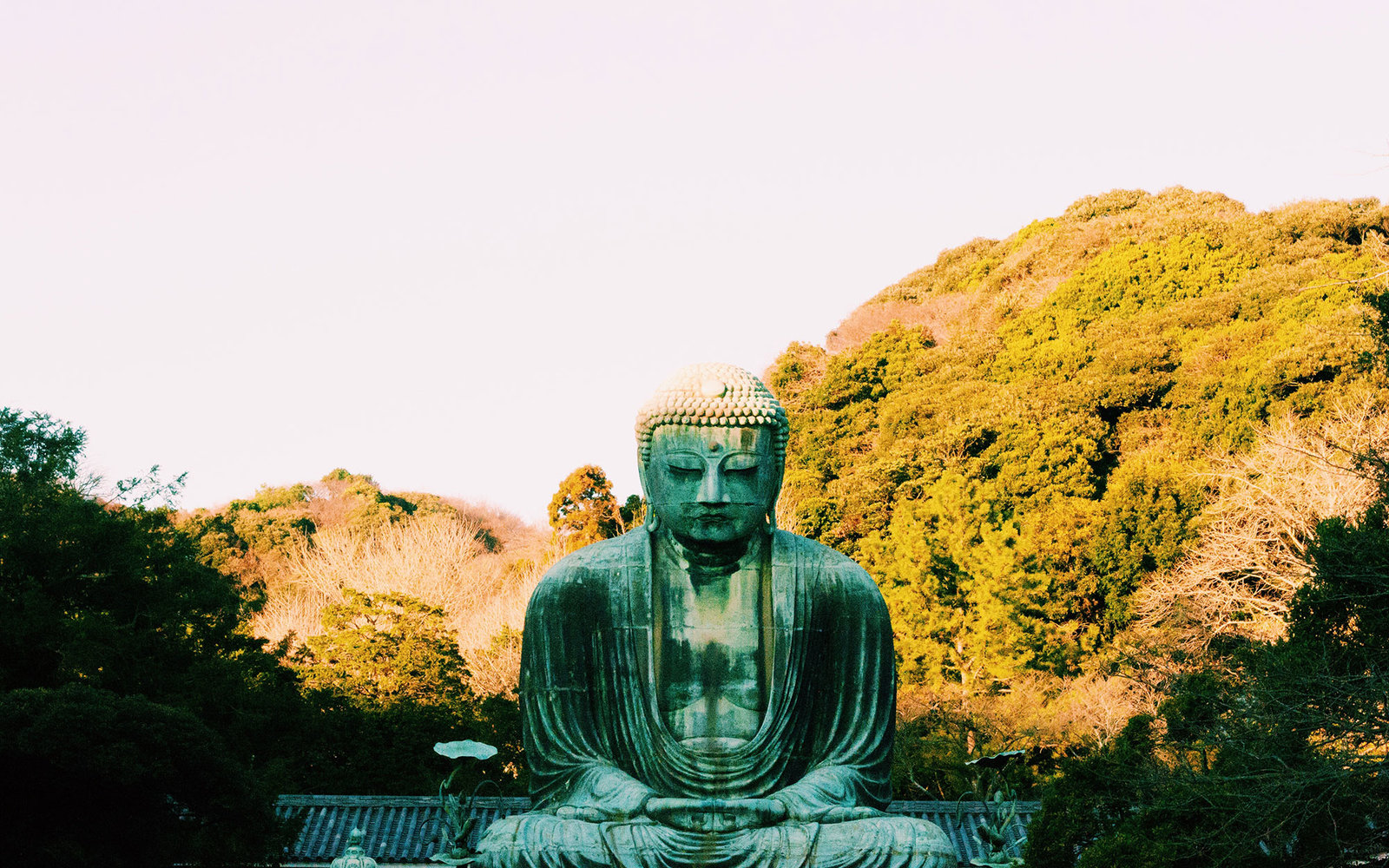 Historic The Great Buddha Statue In Kotoku-In Temple Against Sky