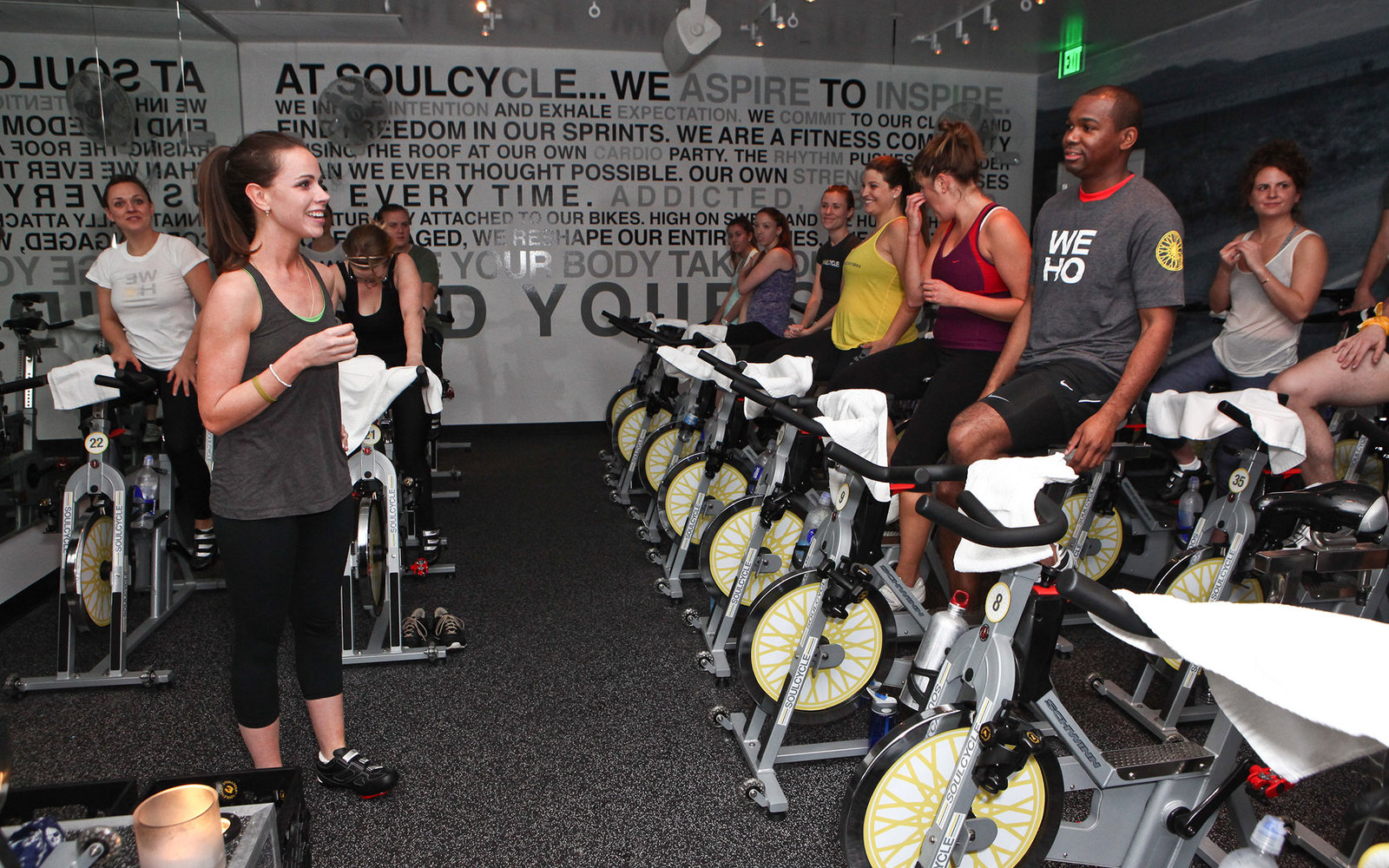 WEST HOLLYWOOD, CA - FEBRUARY 29:  Barbara Bush (L) hosts SoulCycle charity ride to benefit the Global Health Corps on February 29, 2012 in West Hollywood, California.  (Photo by Chelsea Lauren/WireImage)