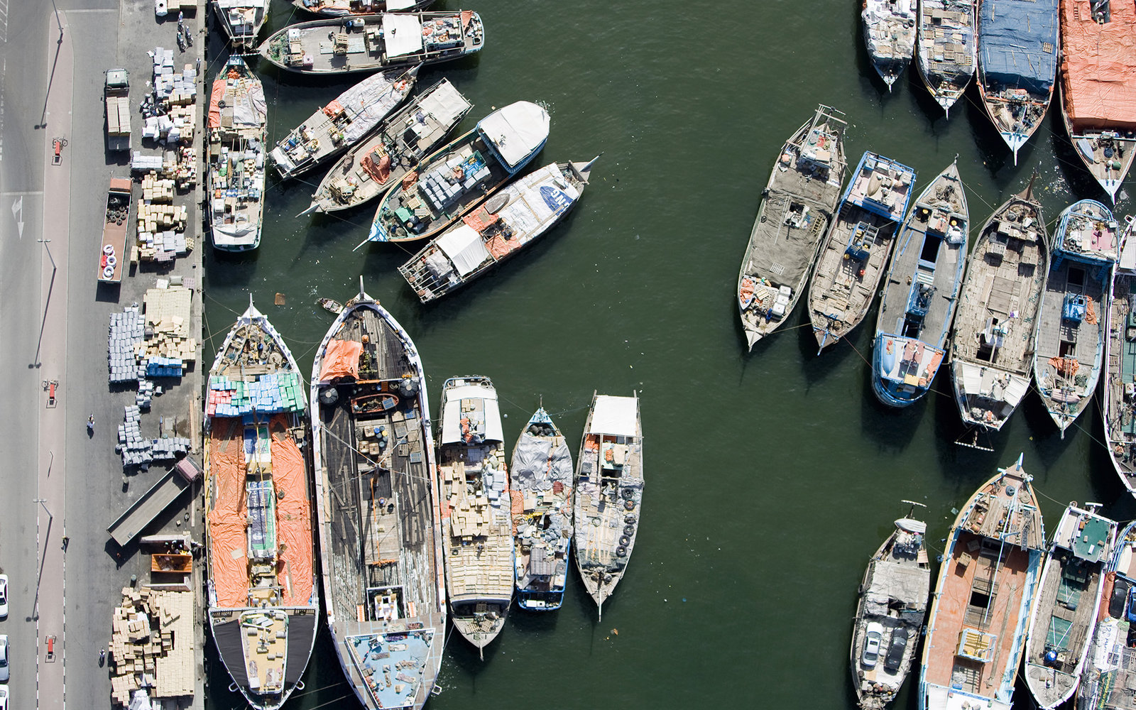Aerial view over moored boats in a marina, Dubai