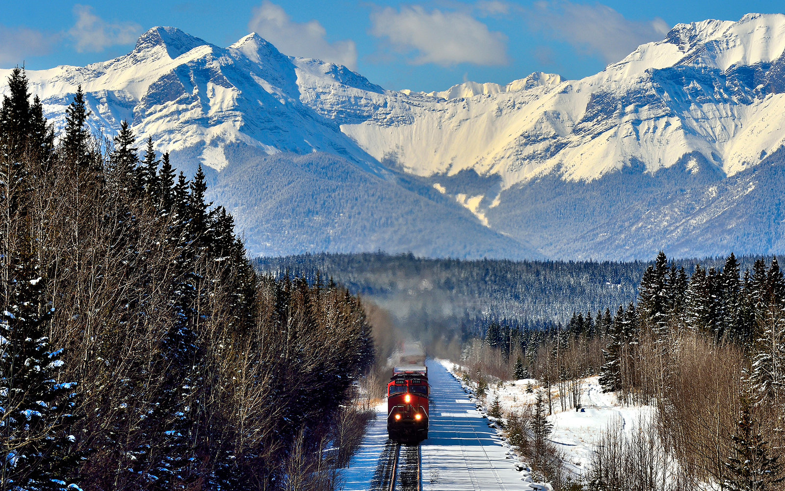 A horizontal image of a Canadian National freight train traveling through the snow-capped rocky mountains of Alberta Canada