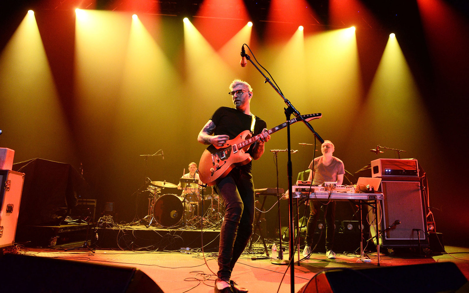 AUSTIN, TX - MARCH 19:  Singer/guitarist Brandon Rush (center) of Priory  performs onstage at the 101x showcase in the Moody Theater at Austin City Limits on March 19, 2015 in Austin, Texas.  (Photo by Scott Dudelson/Getty Images)