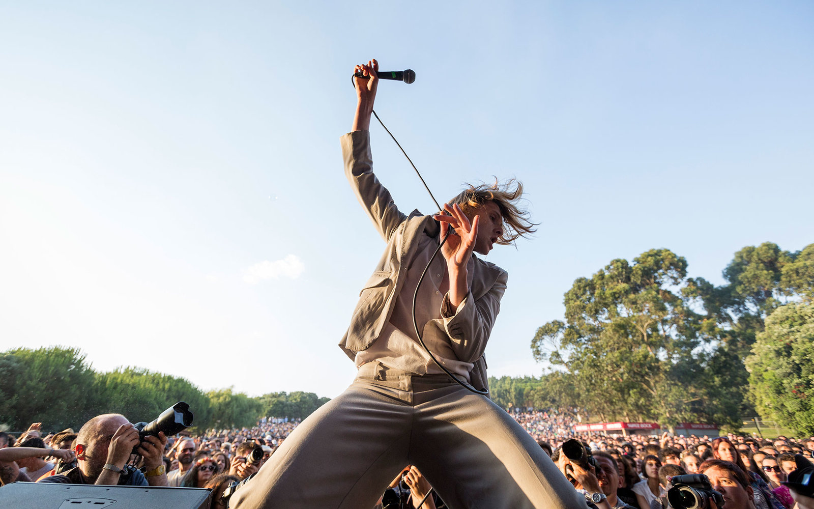 PORTO, MATOSINHOS, PORTUGAL - 2015/06/06: Foxygen performs live in front of an audience of hundreds of people on the third day of NOS Primavera Sound 2015 held in Porto. (Photo by Diogo Baptista/Pacific Press/LightRocket via Getty Images)