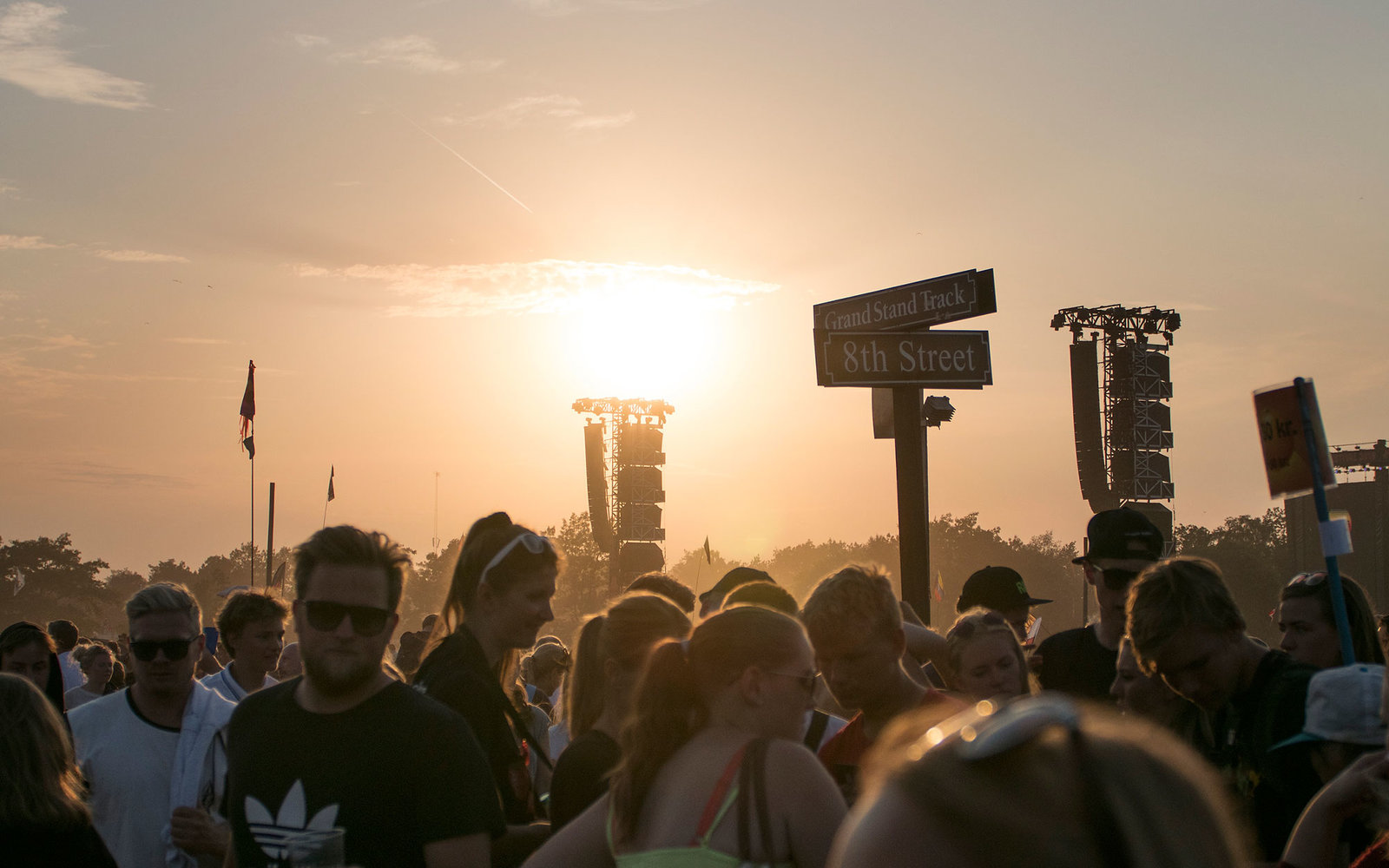Sunset in front of Orange Scene at Roskilde Festival