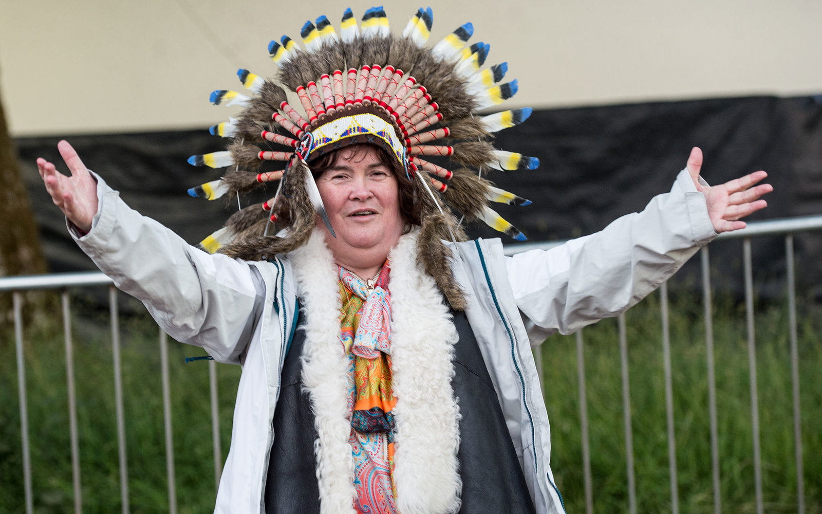 PERTH, SCOTLAND - JULY 12: Britain's Got Talent star Susan Boyle seen posing backstage during 'T in the Park' festival on July 12, 2015 in Perth, Scotland.