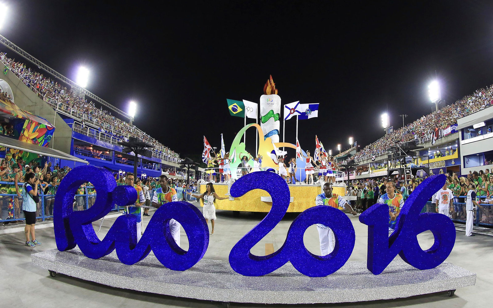 RIO DE JANEIRO, BRAZIL - FEBRUARY 08:  A Rio Olympics 2016 car is seen before the first day of parades of the panel's Carnival in Rio de Janeiro on Marques de Sapucai Sambadromo on February 08, 2016 in Rio de Janeiro, Brazil. (Photo by William Volcov/Braz