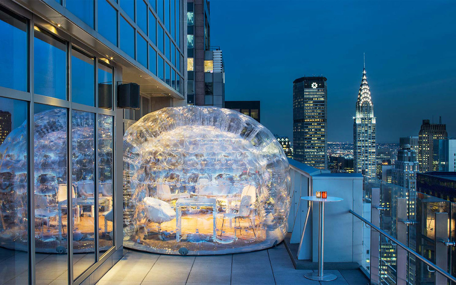 Drink Inside A Bubble At The Highest Rooftop Hotel Bar In Nyc Travel Leisure
