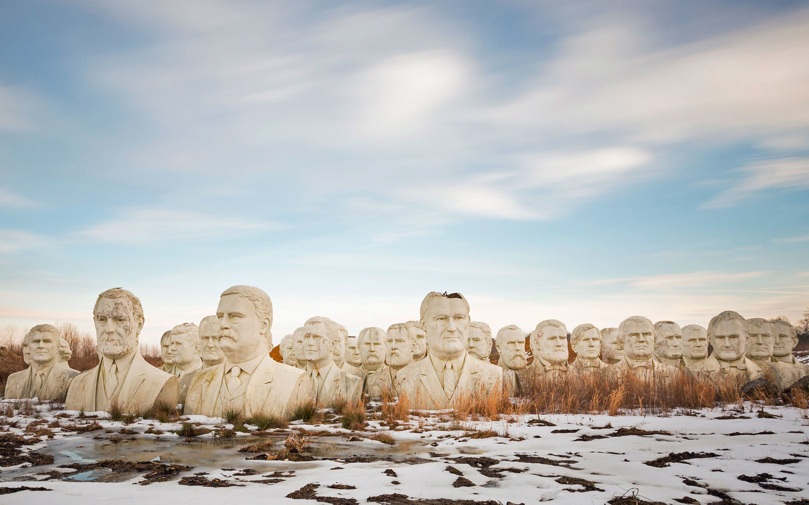 43 Presidential Busts Are Sitting in a Remote Field at a Virginia Farm