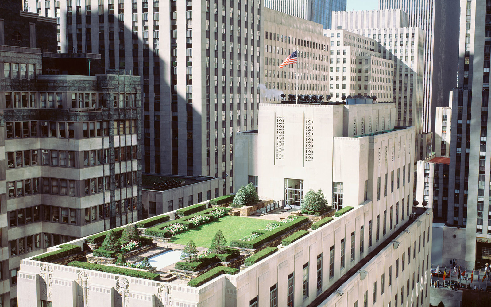 USA, New York, New York City, Rooftop View of Rockefeller Center