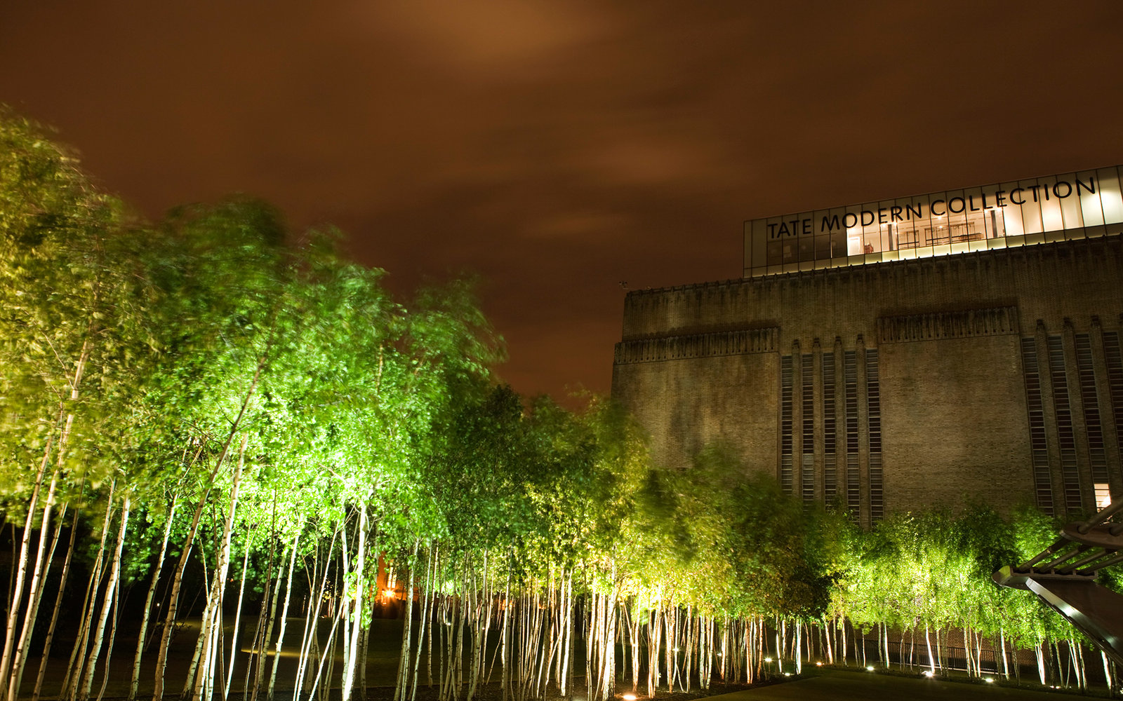 The Tate Modern at night.