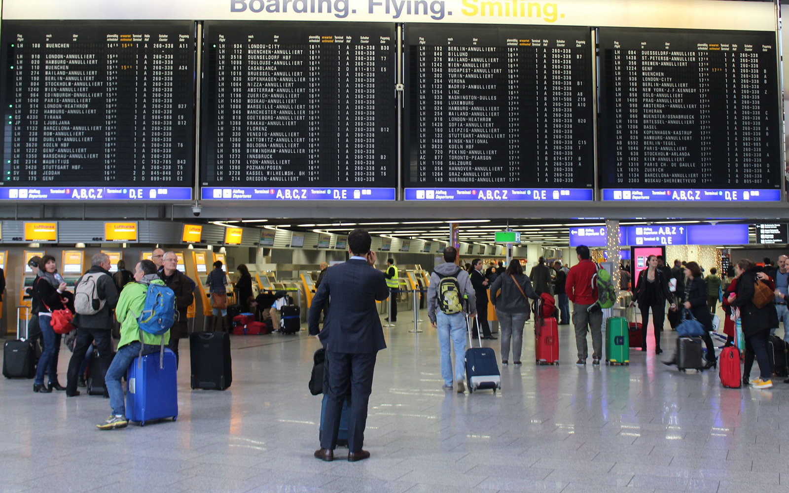 FRANKFURT AM MAIN, GERMANY - NOVEMBER 06: German airline Lufthansa cabin crew strike continues as Lufthansa and the union failed to reach an agreement in a long-running row over early retirement benefits and pensions in Frankfurt Am Main, Germany on Novem