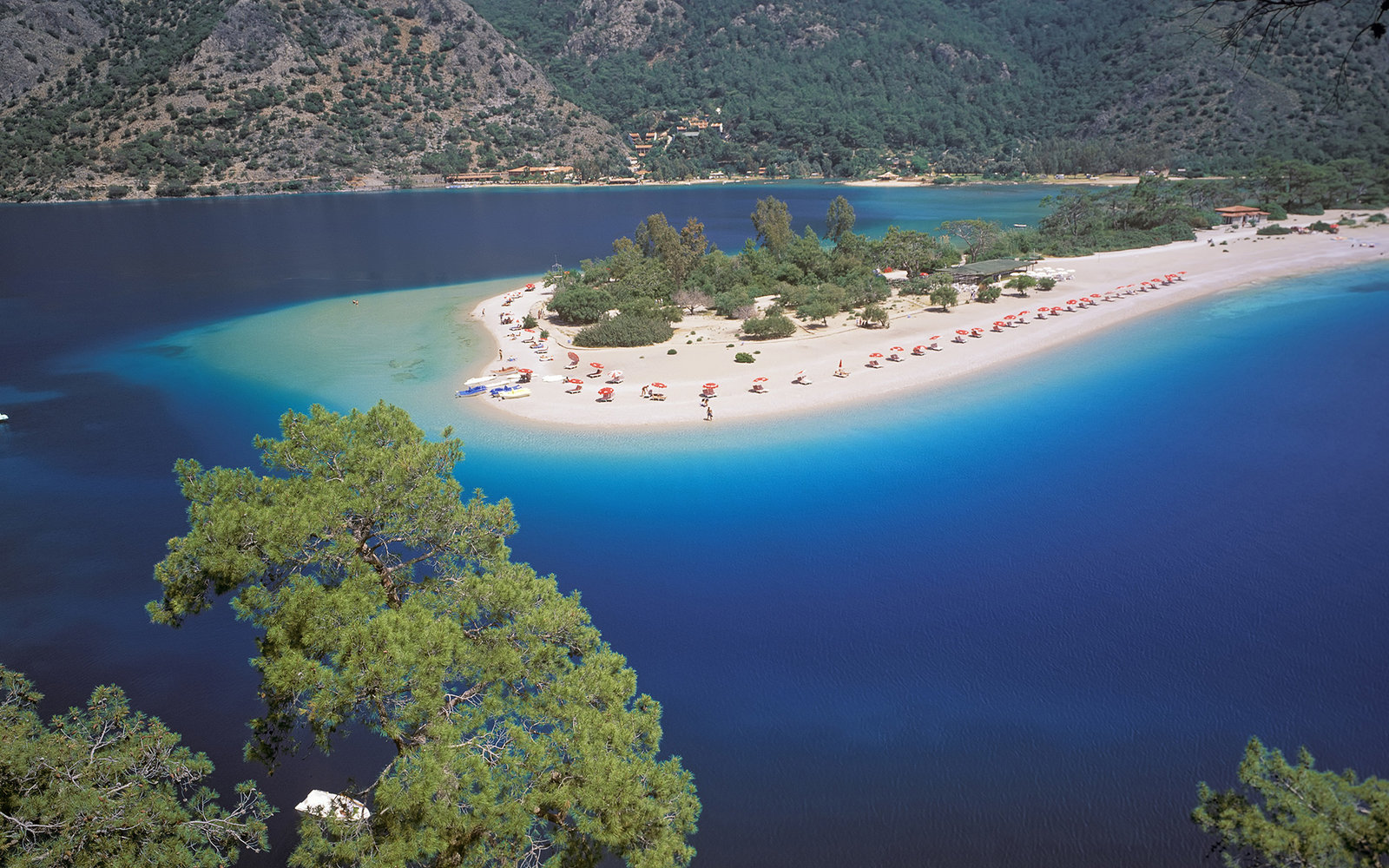 View of the Blue Lagoon, Oludeniz, Anatolia, Turkey