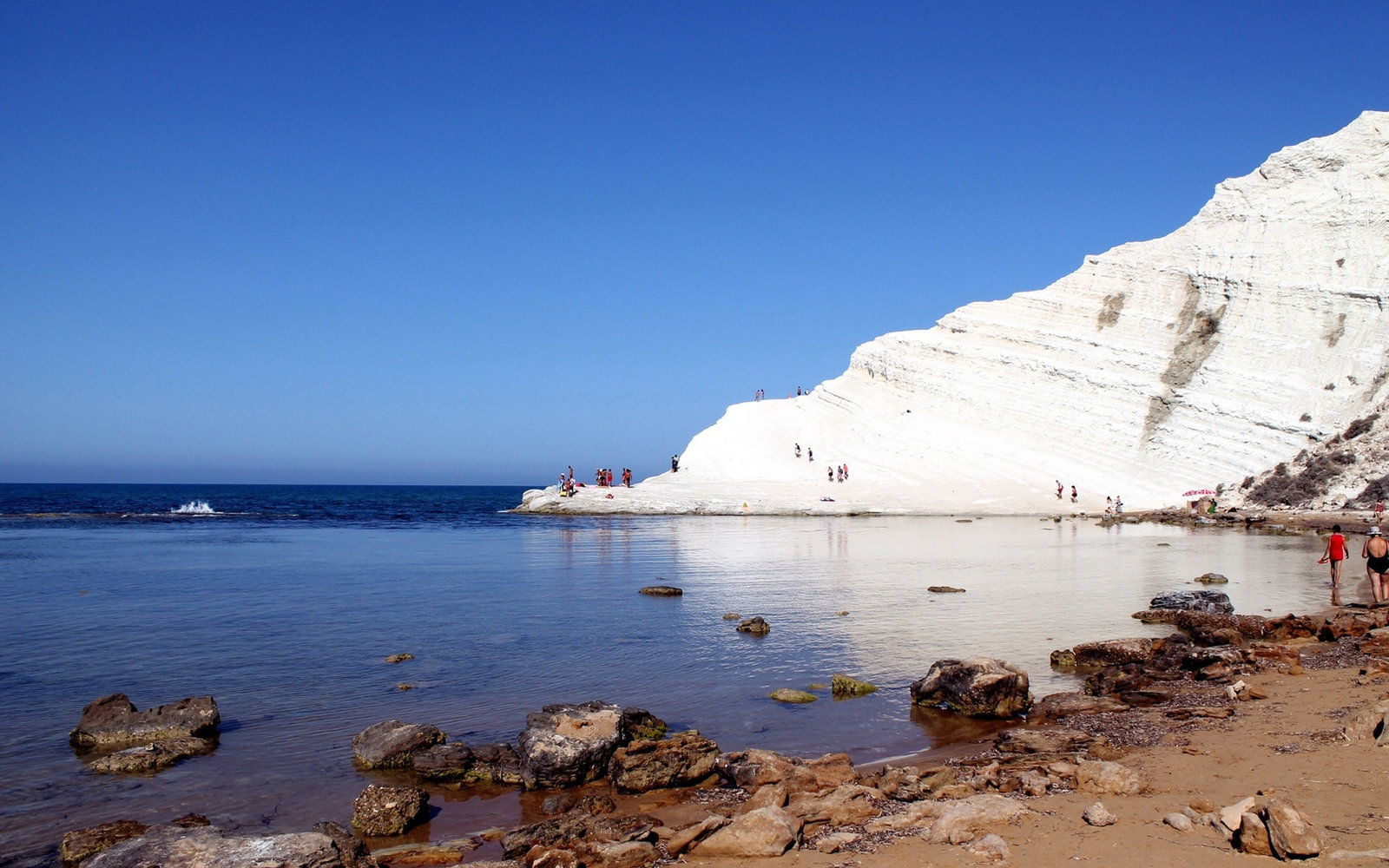 Scala Dei Turchi Cliff Against Clear Sky
