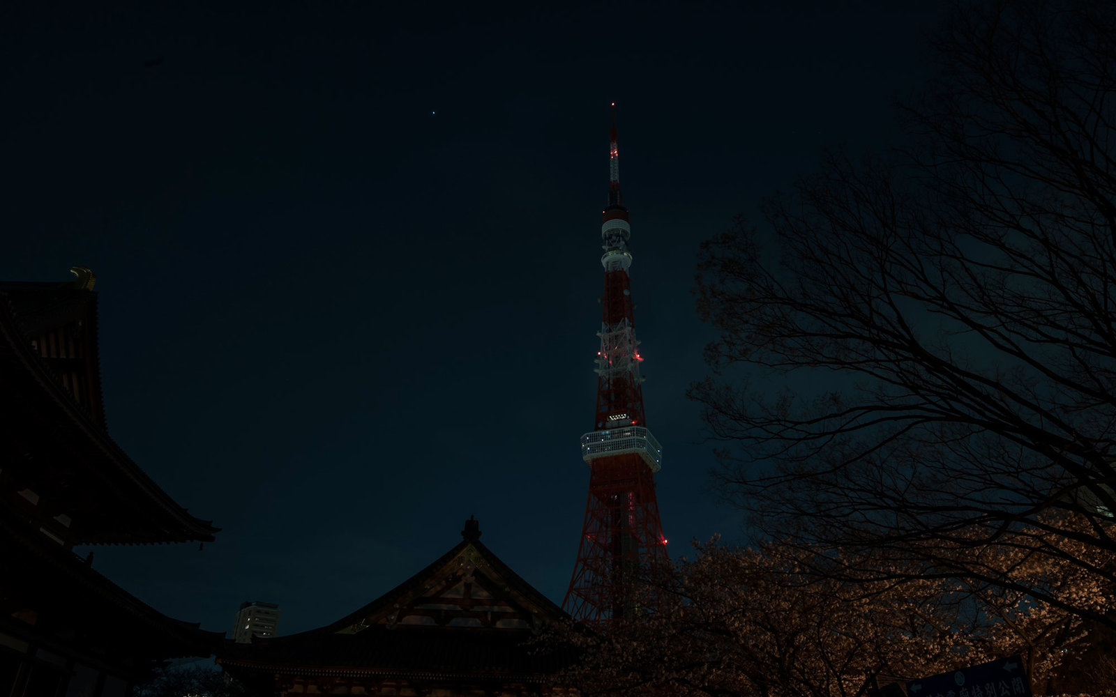 TOKYO, JAPAN - MARCH 29:  Tokyo Tower is seen after the lights were switched off to recognize Earth Hour on March 29, 2014 in Tokyo, Japan. Millions of people around the world switch off lights in homes, offices and landmarks at 8.30pm local time for an h