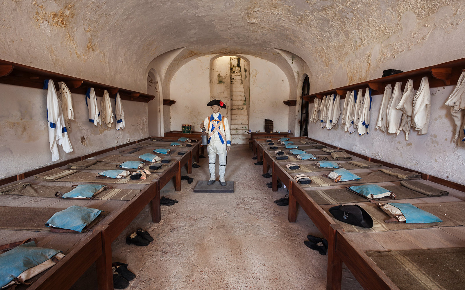 Soldiers Sleeping Quarters, Castillo San Cristobal, San Juan National Historic Site, a national park in Old San Juan, Puerto Rico. (Photo by: Universal Images Group via Getty Images)