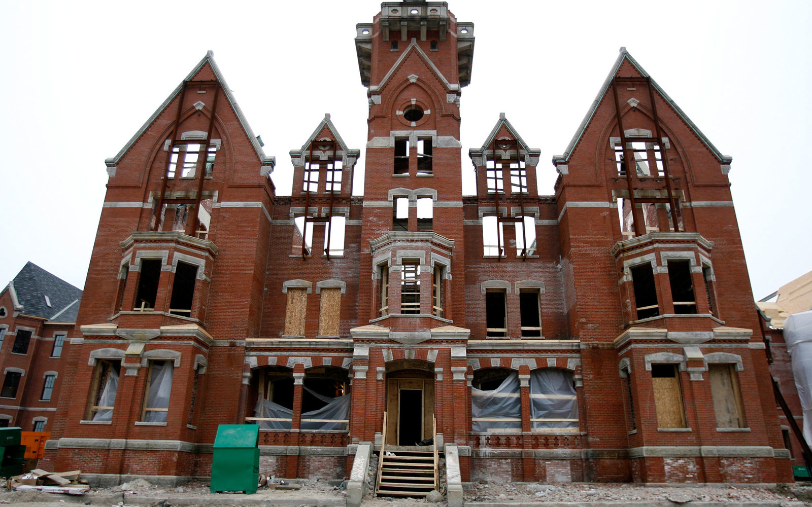 DANVERS, MA - FEBRUARY 2: Avalon Bay communities is developing the former Danvers State Hospital site with a 433 apartment and condo complex. An exterior of the Historic Kirkbride building. Part of the original Building is being renovated and will be used