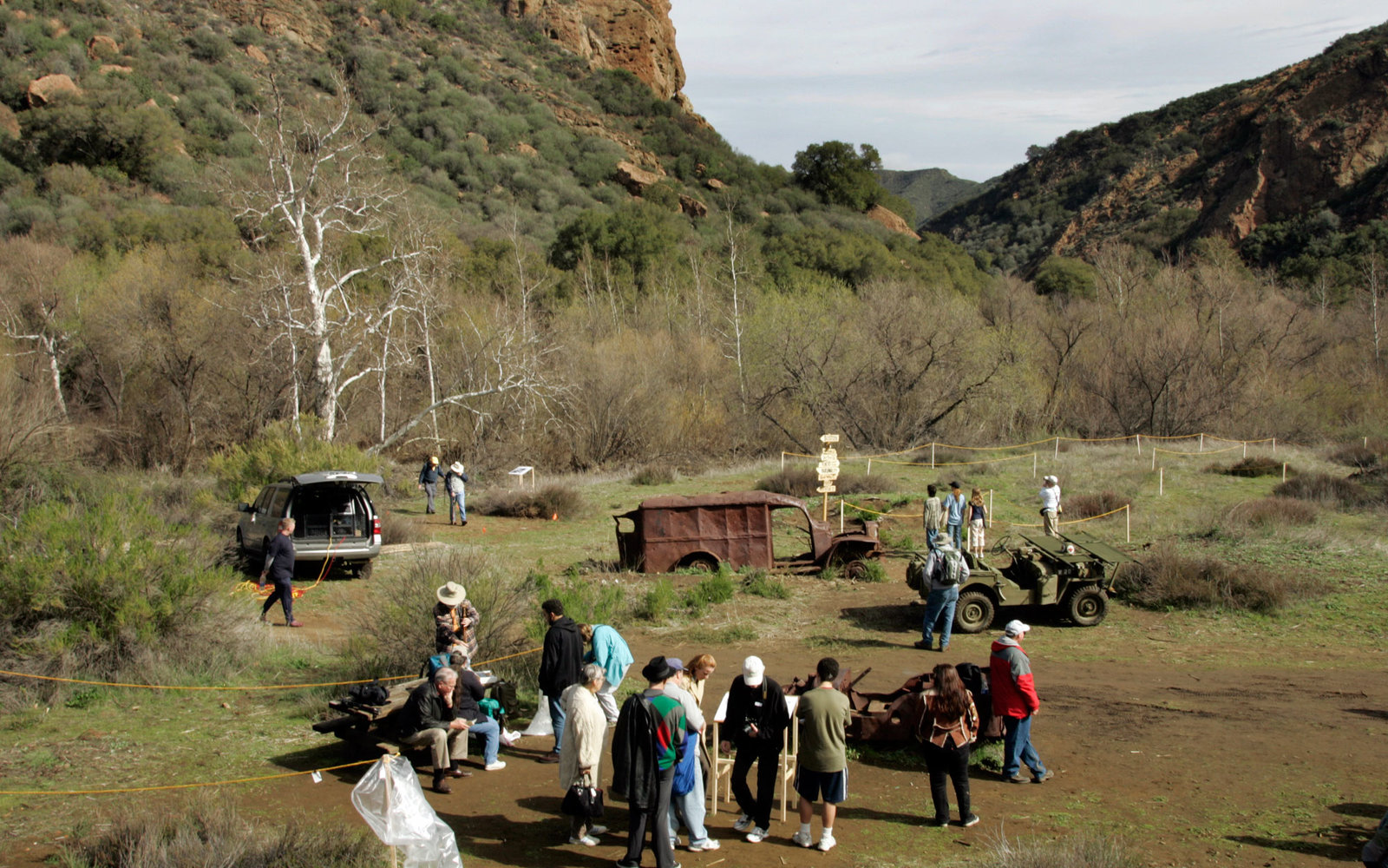 The location of the MASH television series at Malibu Creek State Park is being restored. To show off the restoration and to celebrate the 25th Anniversary of the show' s final episode an event was held for the public with some of the stars. this is a view