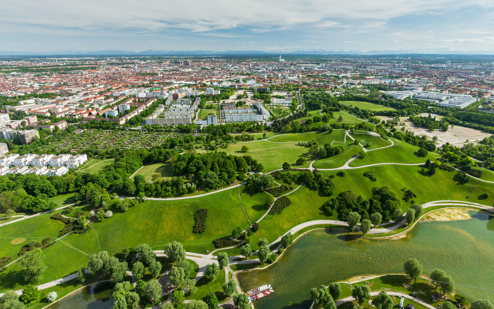 Aerial view of Munich and Olympiapark from Olympiaturm (Olympic Tower), Munich, Bavaria, Germany