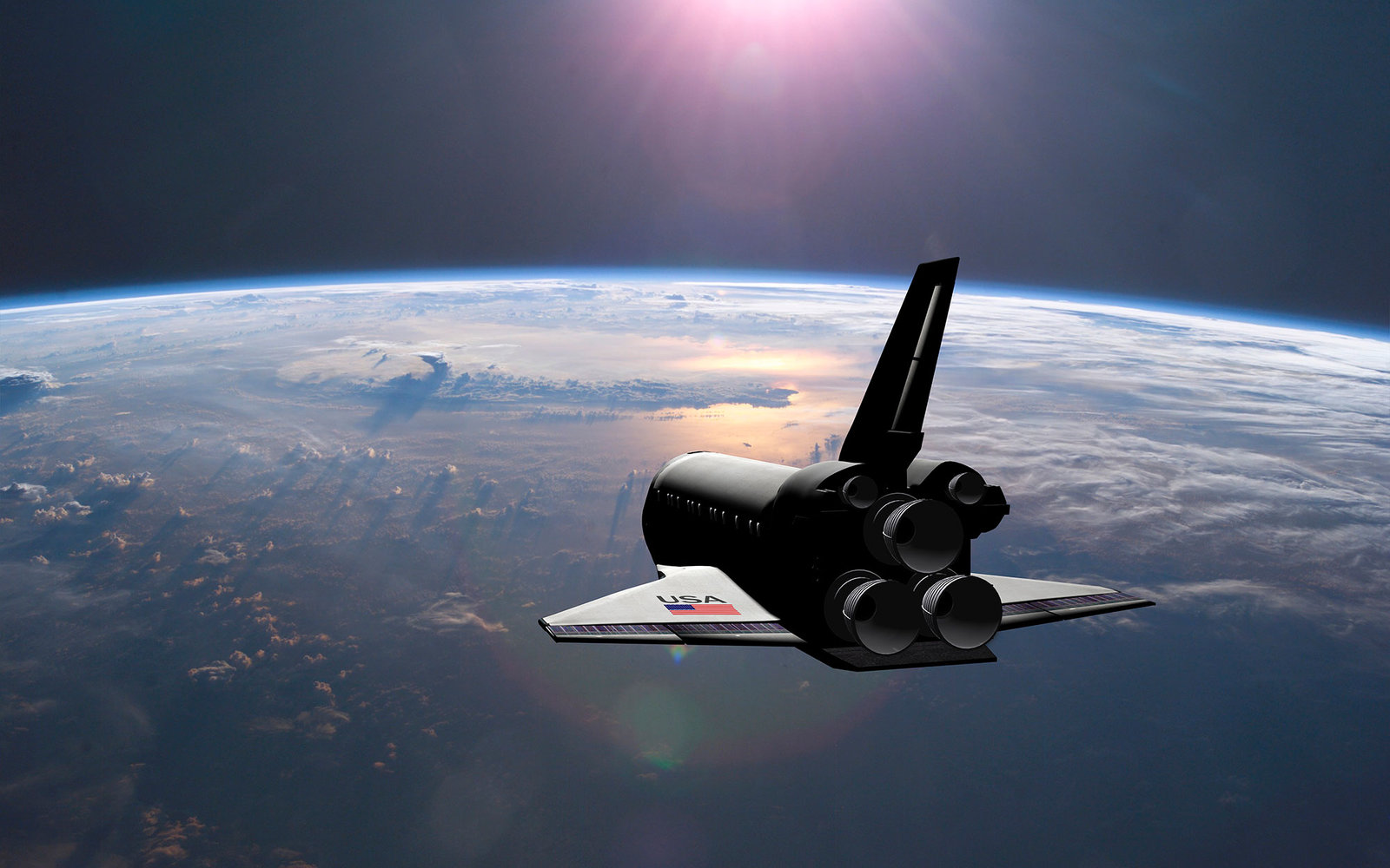 3D render of the space shuttle orbiting the earth, heading towards the rising sun.