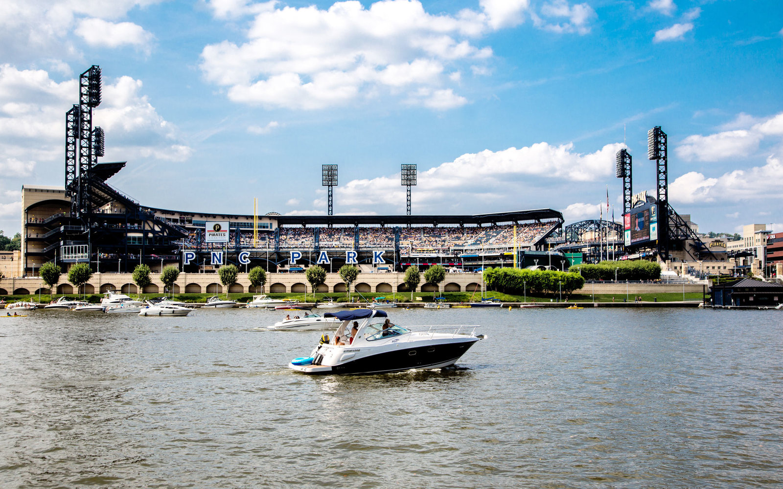 Boats on the Allegheny River by PNC Park Pittsburgh