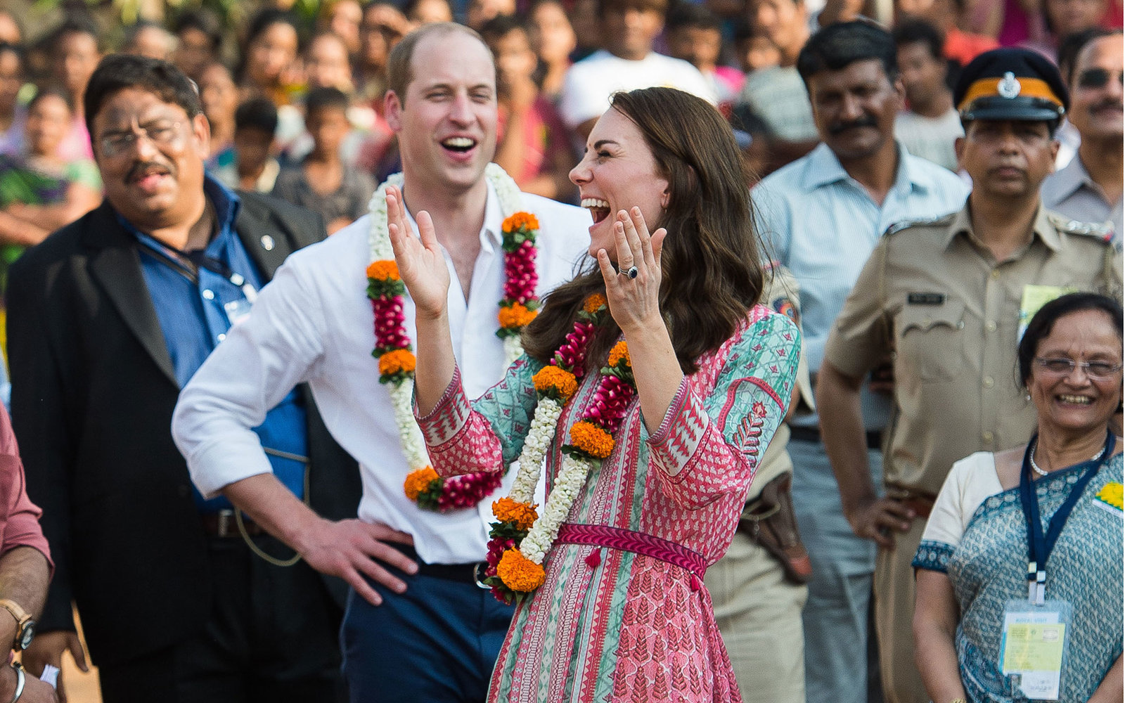 MUMBAI, INDIA - APRIL 10:  Catherine, Duchess of Cambridge and Prince William, Duke of Cambridge take part in football games during a visit to Banganga Water tank, where they met representatives of SMILE during the royal visit to India and Bhutan on April