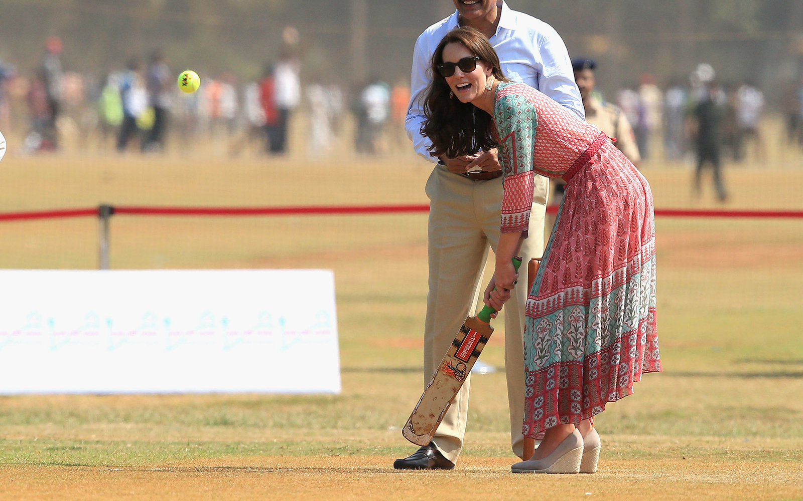 MUMBAI, INDIA - APRIL 10:  Catherine, Duchess of Cambridge plays cricket during a visit to meet children from Magic Bus, Childline and Doorstep, three non-governmental organizations, at Mumbai's iconic recreation ground, the Oval Maidan, during the royal