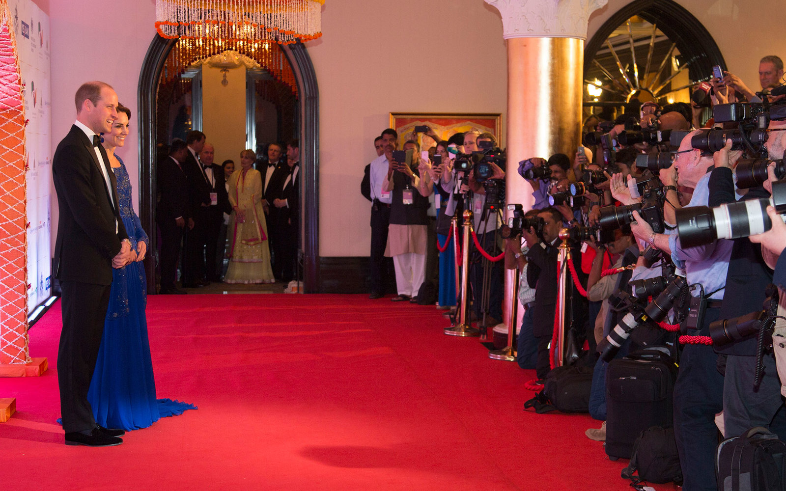 MUMBAI, INDIA - APRIL 10:  Catherine, Duchess of Cambridge and Prince William, Duke of Cambridge arrive for a Bollywood Inspired Charity Gala at the Taj Mahal Palace Hotel during the royal visit to India and Bhutan on April 10, 2016 in Mumbai, India.  (Ph