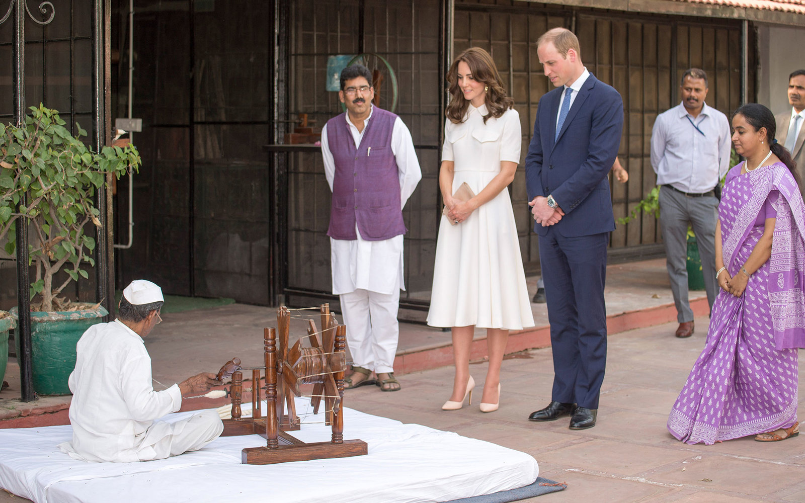 NEW DELHI, INDIA - APRIL 11: Catherine, Duchess of Cambridge and Prince William, Duke of Cambridge visit Gandhi Smriti, a museum located in Old Birla House, where Mahatma Gandhi, India's founding father, spent the last few years of his life, on April 11,