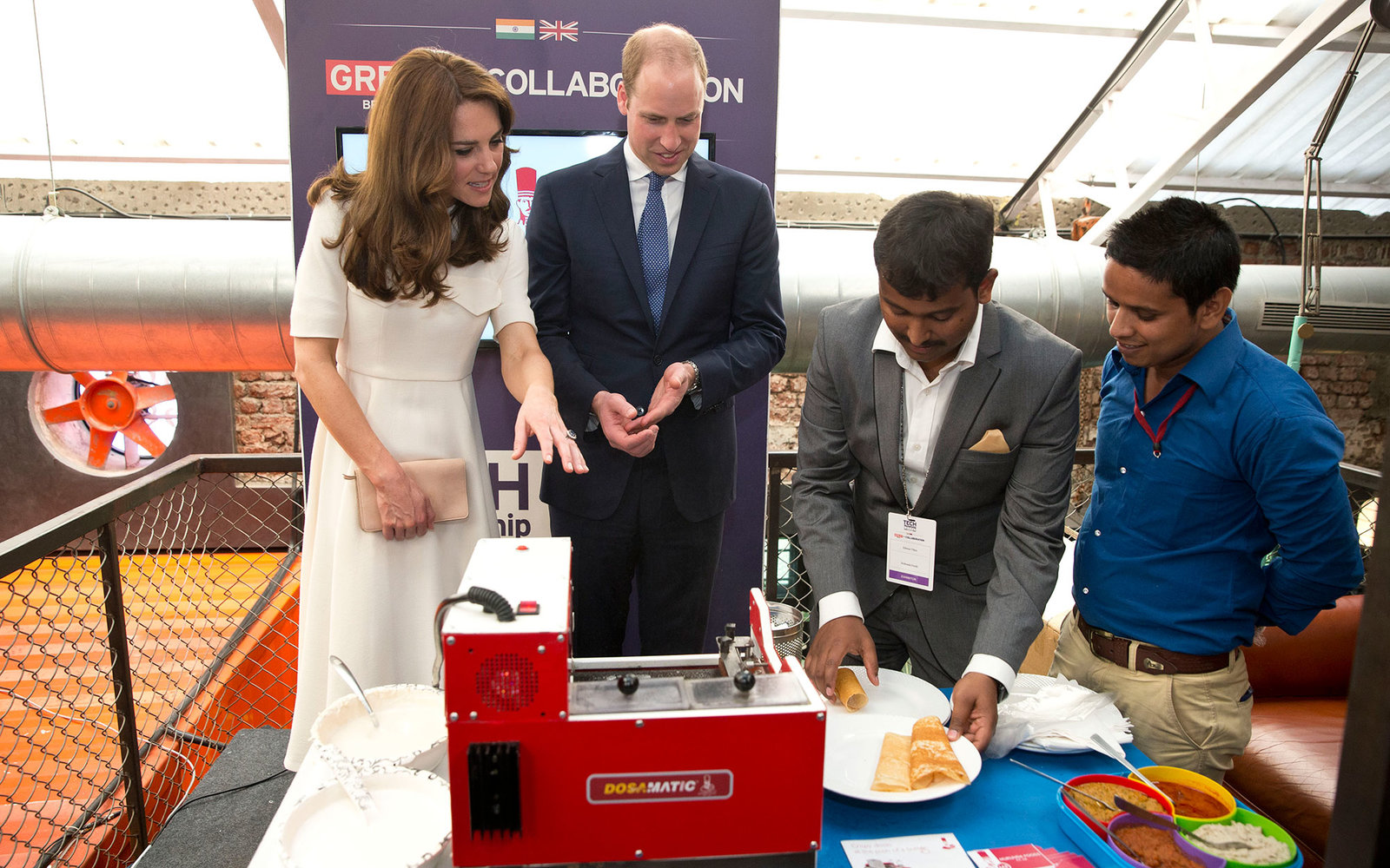 MUMBAI, INDIA - APRIL 10: Prince William, Duke of Cambridge and Catherine, Duchess of Cambridge meet young entrepreneurs during a visit to Mumbai on April 11, 2016 in Mumbai, India.   (Photo by Heathcliff O'Malley-Pool/Getty Images)