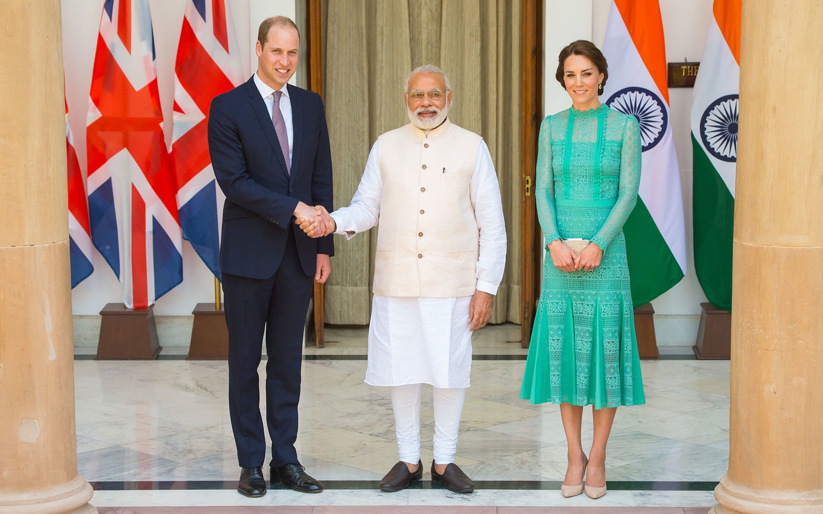 NEW DELHI, INDIA - APRIL 12:  Catherine, Duchess of Cambridge and Prince William, Duke of Cambridge meet Prime Minister of India Narenda Modi in New Delhi's Hyderabad House on April 12, 2016 in New Dehli, India. The Duke and Duchess of Cambridge are on a