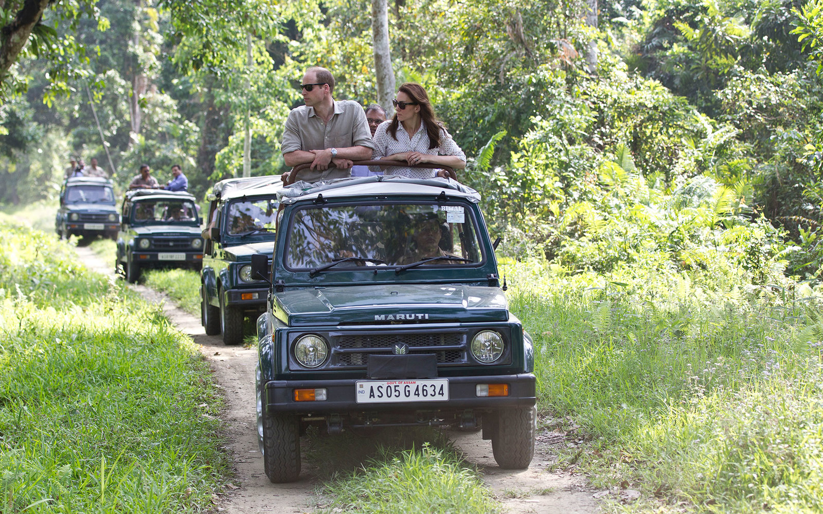 GUWAHATI, INDIA - APRIL 13:  Catherine, Duchess of Cambridge and Prince William, Duke of Cambridge take a Game drive at Kaziranga National Park at Kaziranga National Park on April 13, 2016 in Guwahati, India.   (Photo by Heathcliff O'Malley - WPA Pool/Get