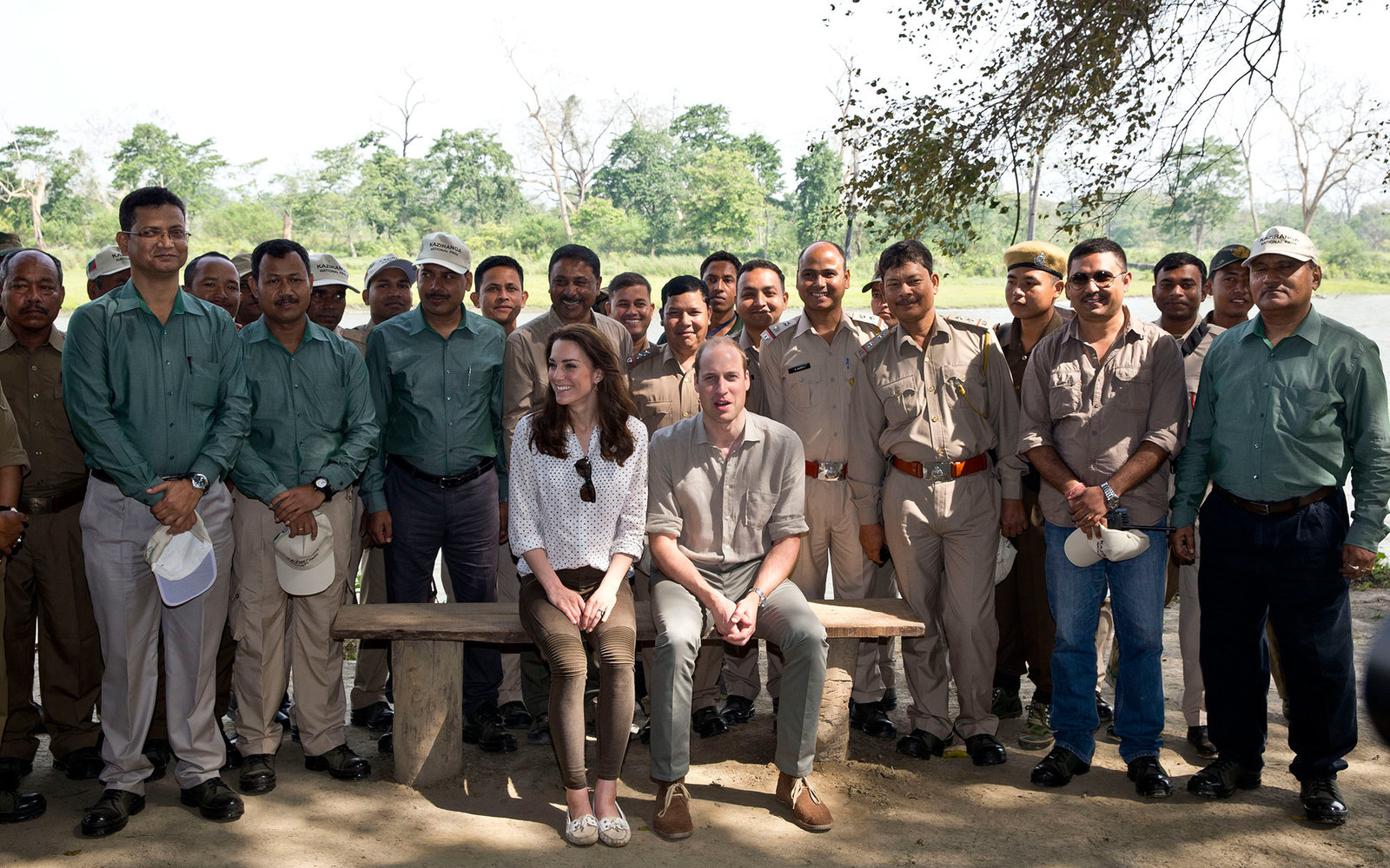GUWAHATI, INDIA - APRIL 13:  Catherine, Duchess of Cambridge and Prince William, Duke of Cambridge pose with rangers on a Game drive at Kaziranga National Park at Kaziranga National Park on April 13, 2016 in Guwahati, India.   (Photo by Heathcliff O'Malle
