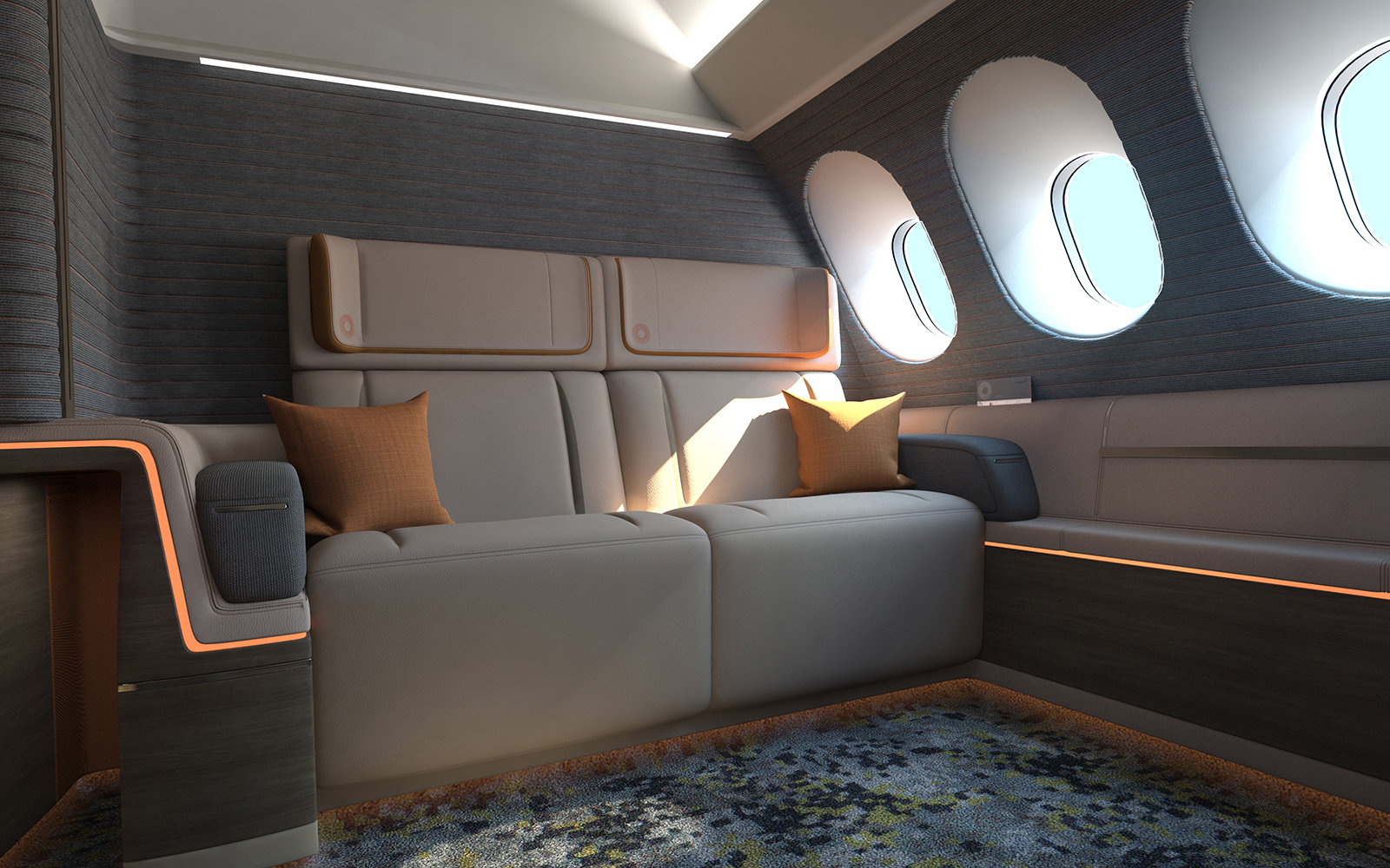 A New Airplane Cabin Design Features King Size Beds