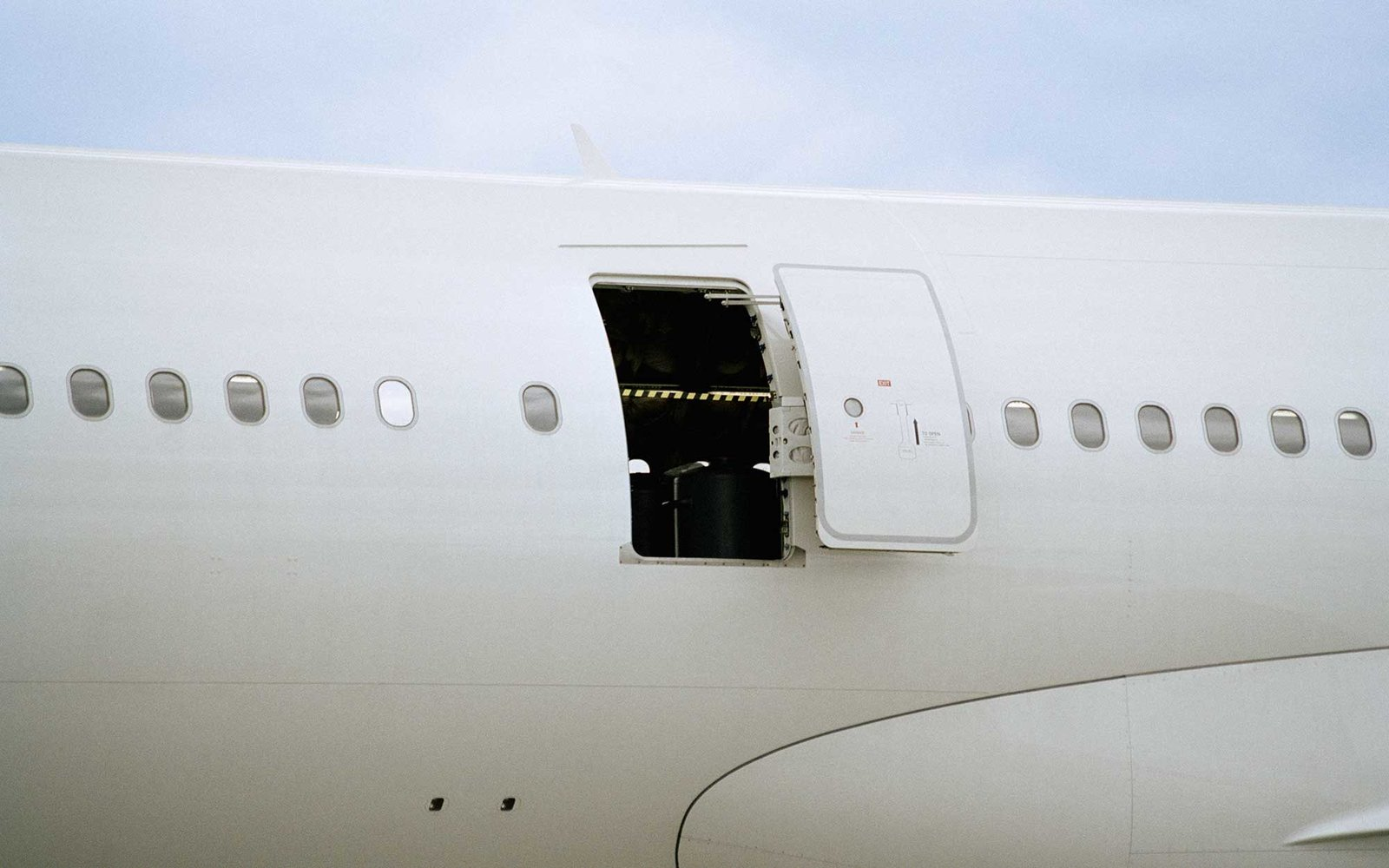 Open door of airplane