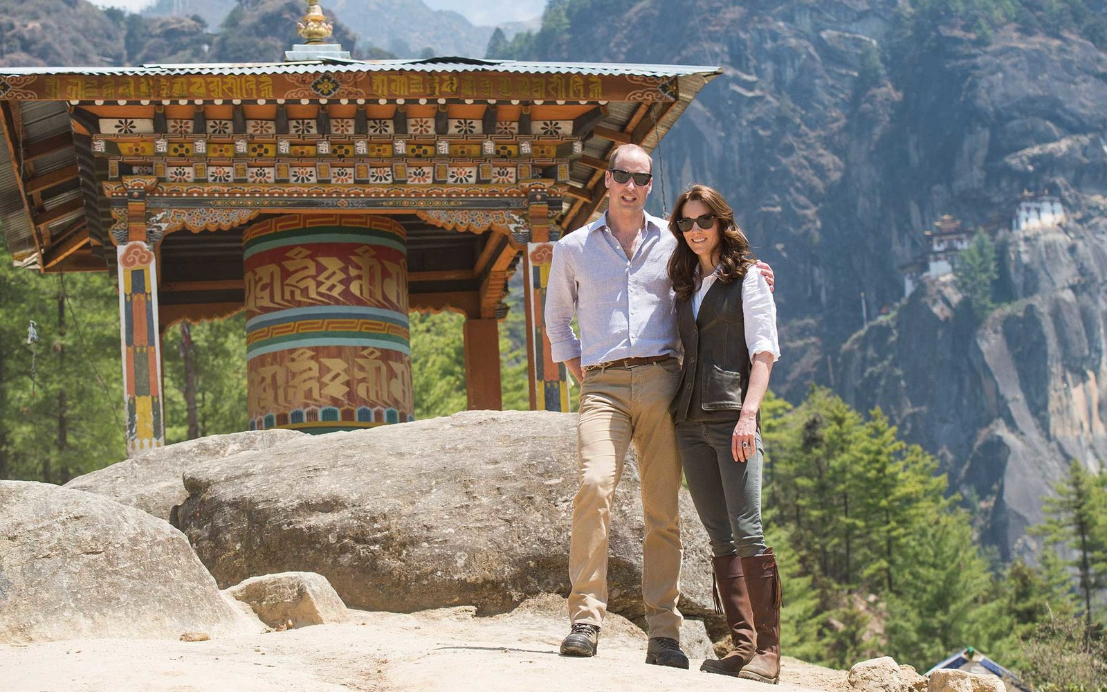PARO, BHUTAN - APRIL 15:  Prince William, Duke of Cambridge and Catherine, Duchess of Cambridge half way on their hike to Paro Taktsang, the Tiger's Nest monastery on April 15, 2016 in Paro, Bhutan.  (Photo by UK Press Pool/Getty Images)