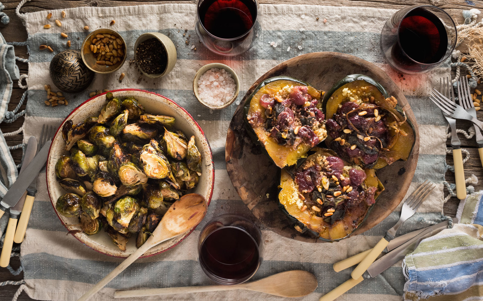 Grilled Brussels Sprouts and Stuffed Squash