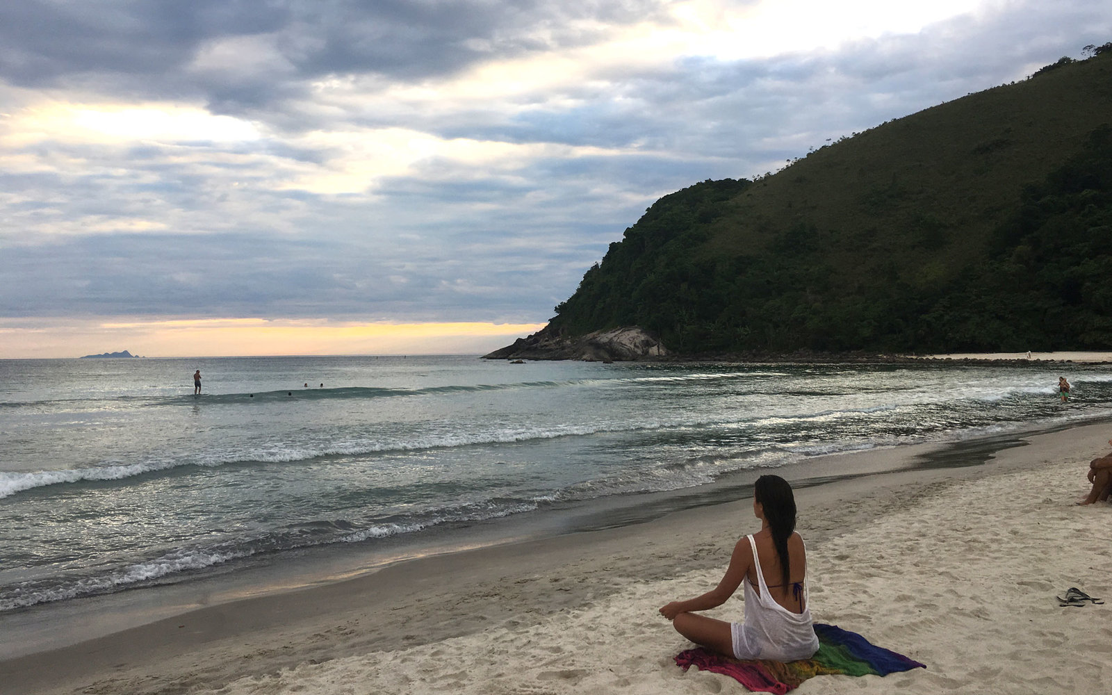meditation on Brazilian beach