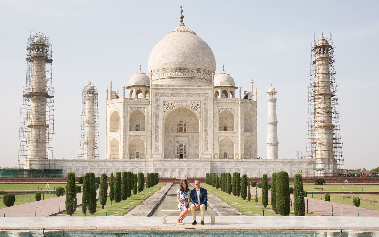 AGRA, INDIA - APRIL 16:  Prince William, Duke of Cambridge and Catherine, Duchess of Cambridge sit in front of the Taj Mahal during day seven of the royal tour of India and Bhutan on April 16, 2016 in Agra, India. This is the last engagement of the Royal