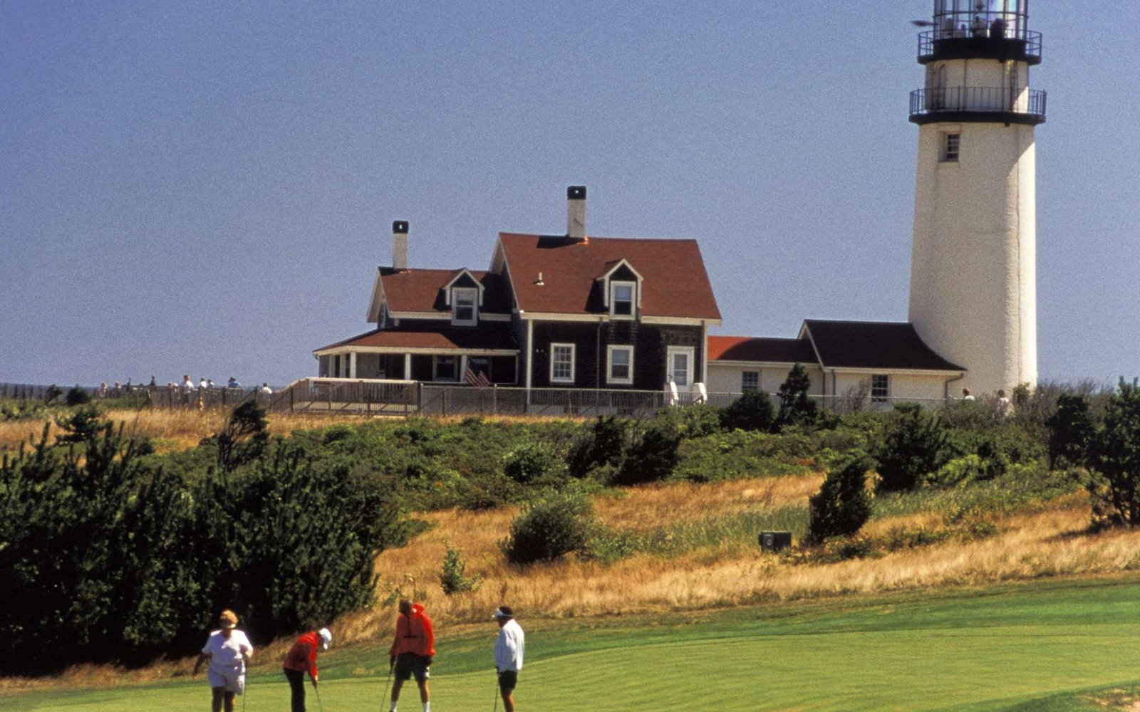 Massachusetts, Cape Cod, North Truro, Highland Golf Links, 1892, Highland Lighthouse, 1857. (Photo by: Jeff Greenberg/UIG via Getty Images)