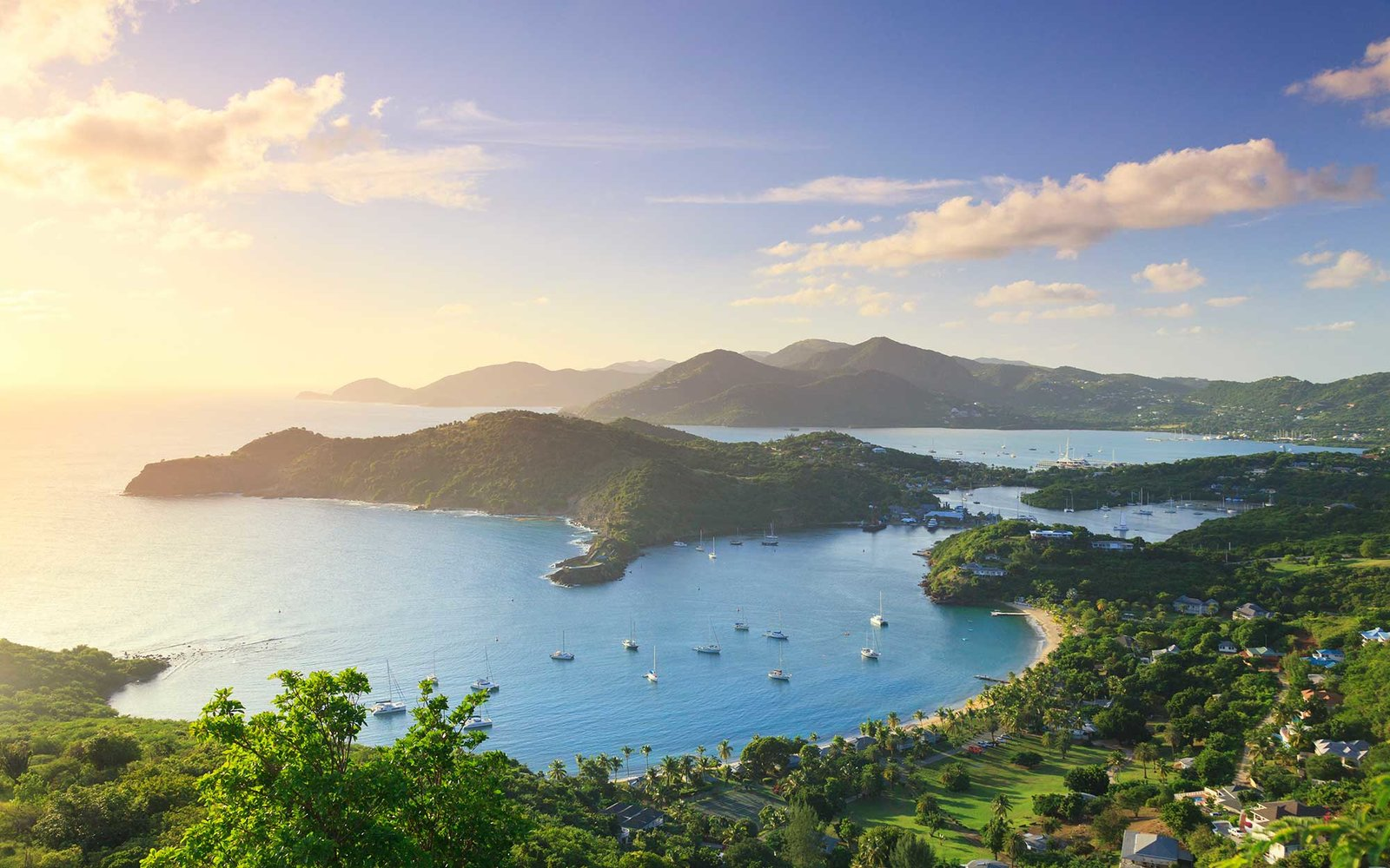 Caribbean, Antigua and Barbuda, English Harbor from Shirley's Heights