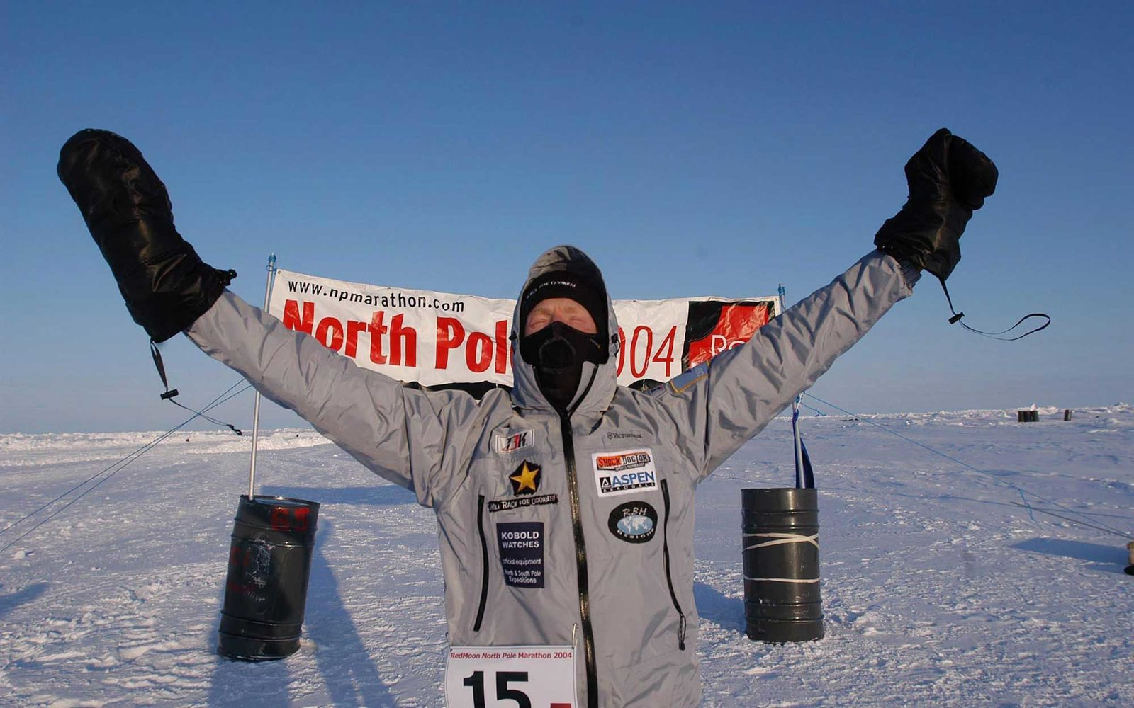 FECHJ1 American Sean Burch reacts after winning the Red Moon North Pole Marathon 2004, Saturday, 10 April 2004. The 26.2 mile race started at midnight in temperatures of -25C. Burch led home a field of fifteen in a time of 3.43. EPA/Mike King / HO UK AND