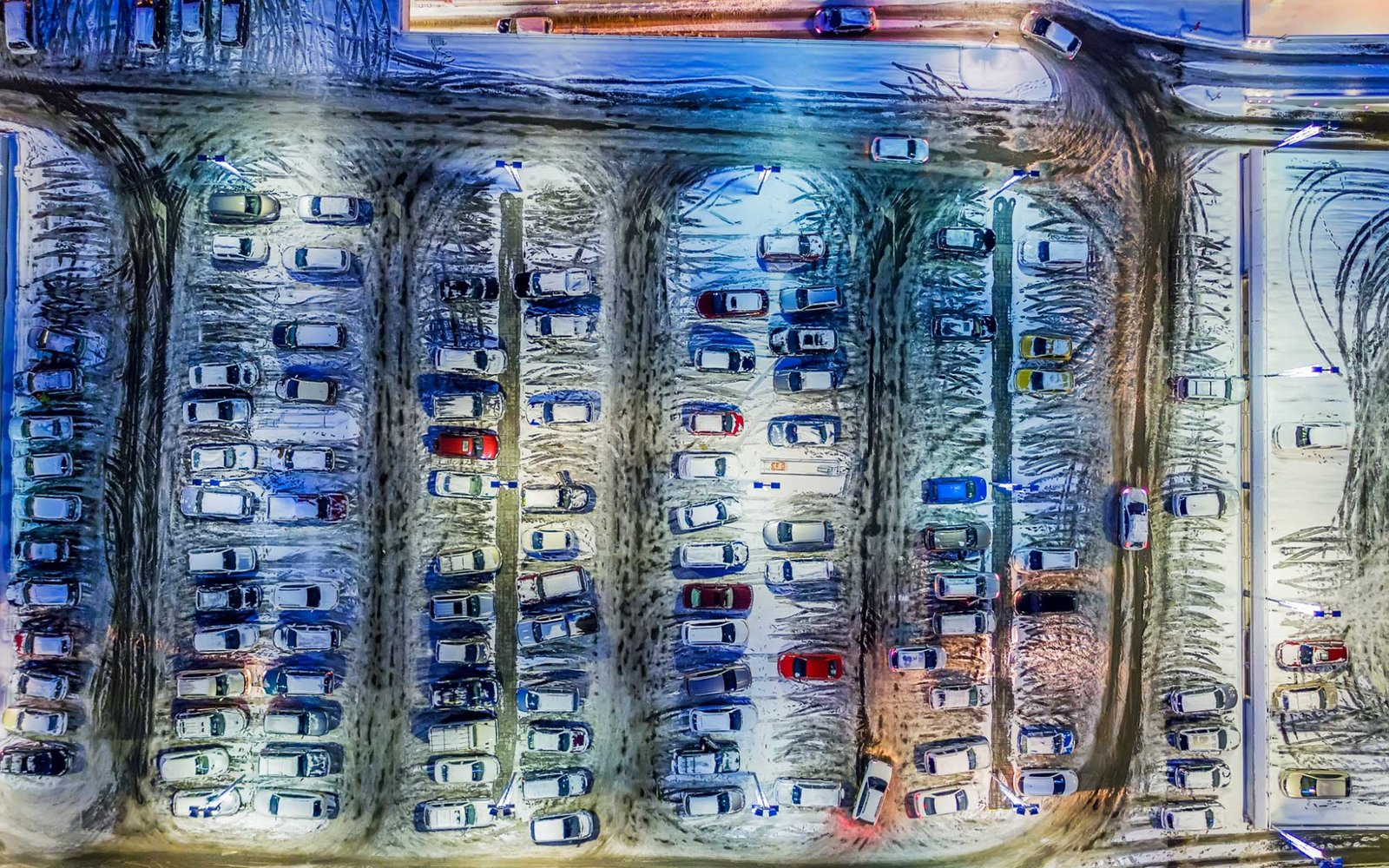 Aerial view of parking lot, wintertime