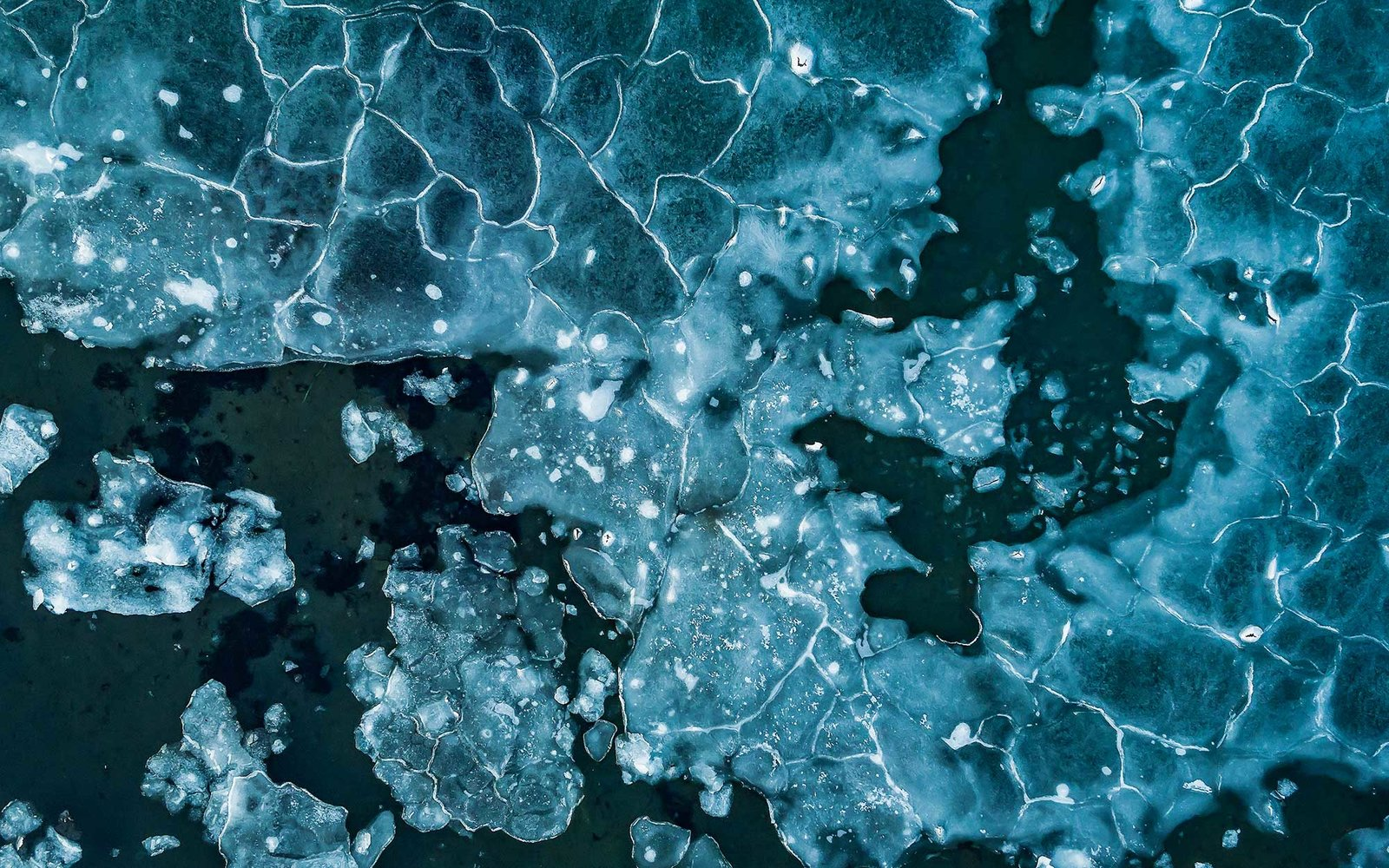Aerial view of pack ice.