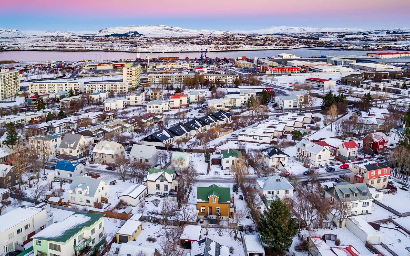 Top view-neighborhood in Reykjavik, Iceland