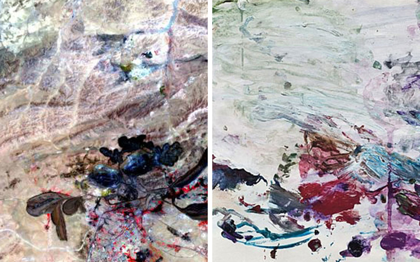 Pictured left: A mine in Baiyun Ebo, Inner Mongolia on June 30, 2006; Pictured right: Cy Twombly, Untitled (Scenes from an ideal Marriage), 1986