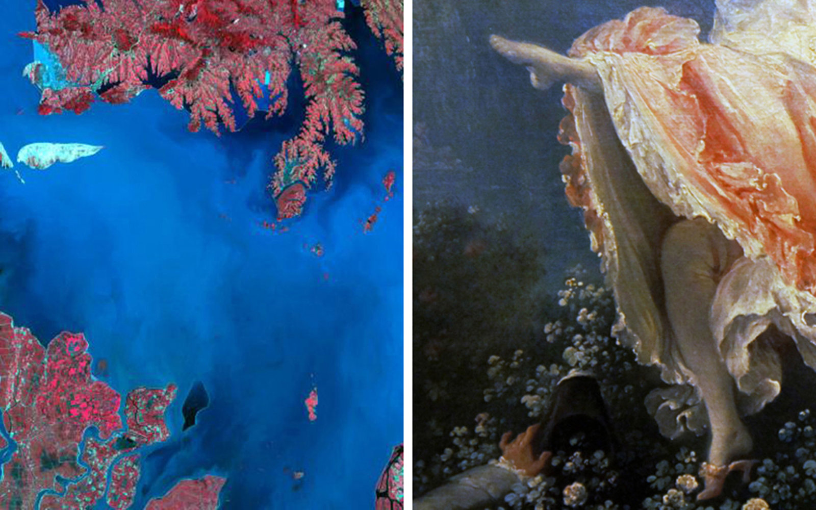 Pictured left: China's Poyang Lake on July 14, 1989; Pictured right: Jean-Honoré Fragonard, The Swing, 1767